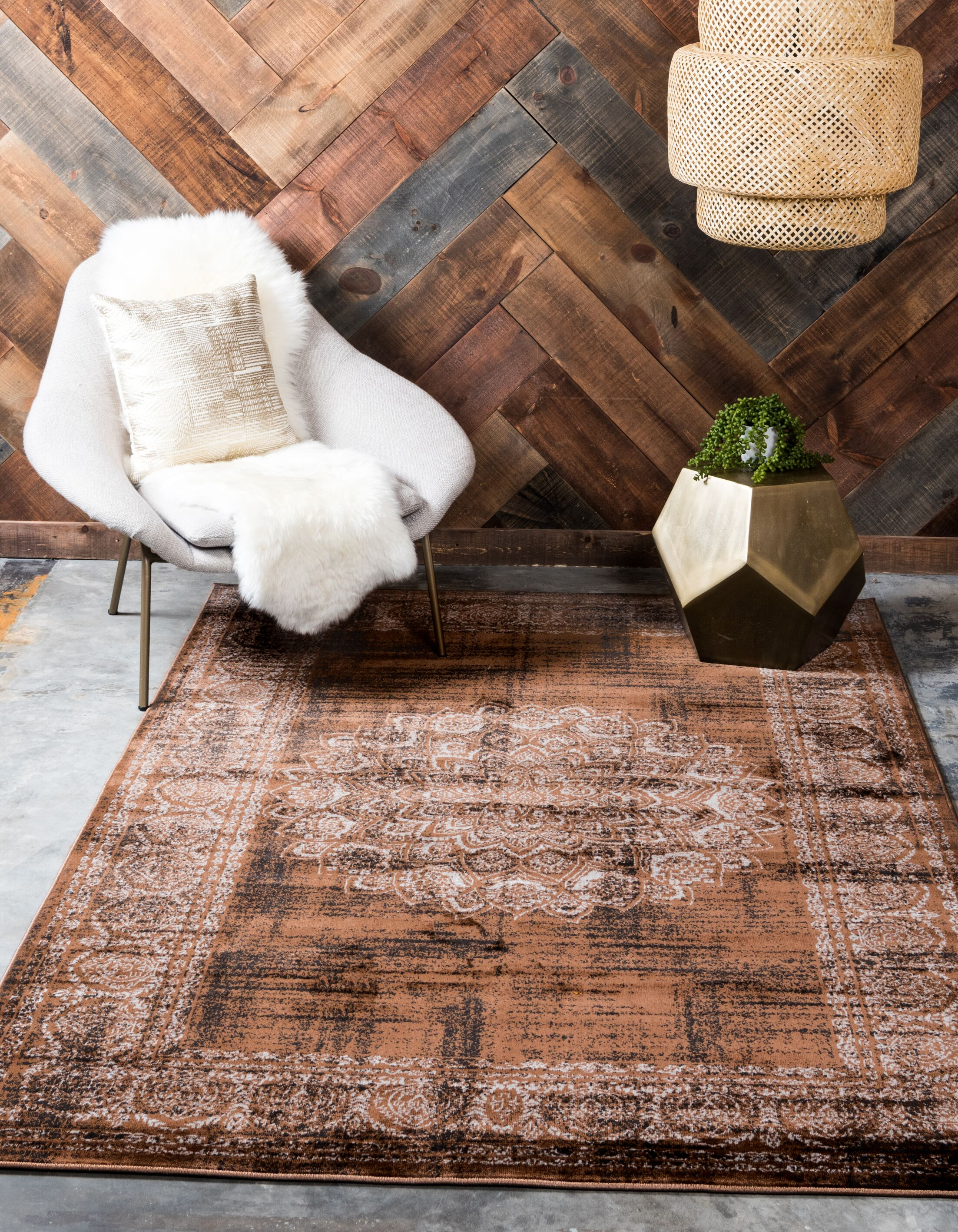 Neuilly Chocolate Brown/Black Area Rug Rug Size: Rectangle 5' x 8'