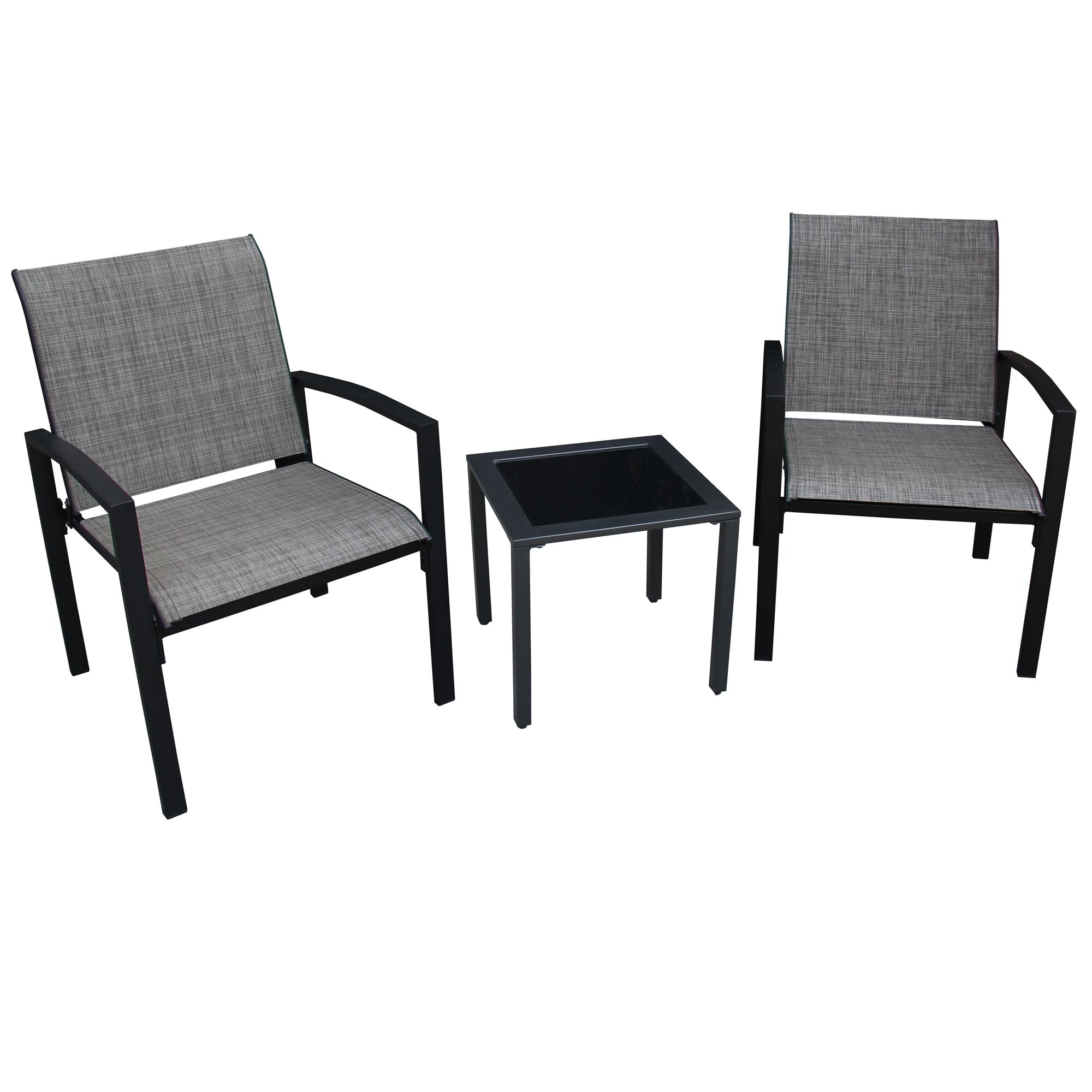 Campos 3 Piece 2 Person Seating Group Color: Black