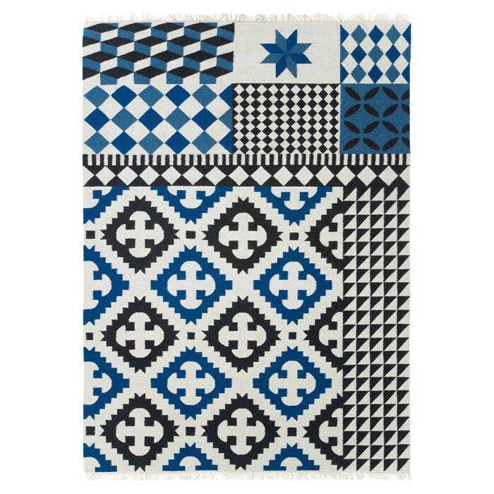 Kilim Palermo Blue Ikat Area Rug Rug Size: 4'11
