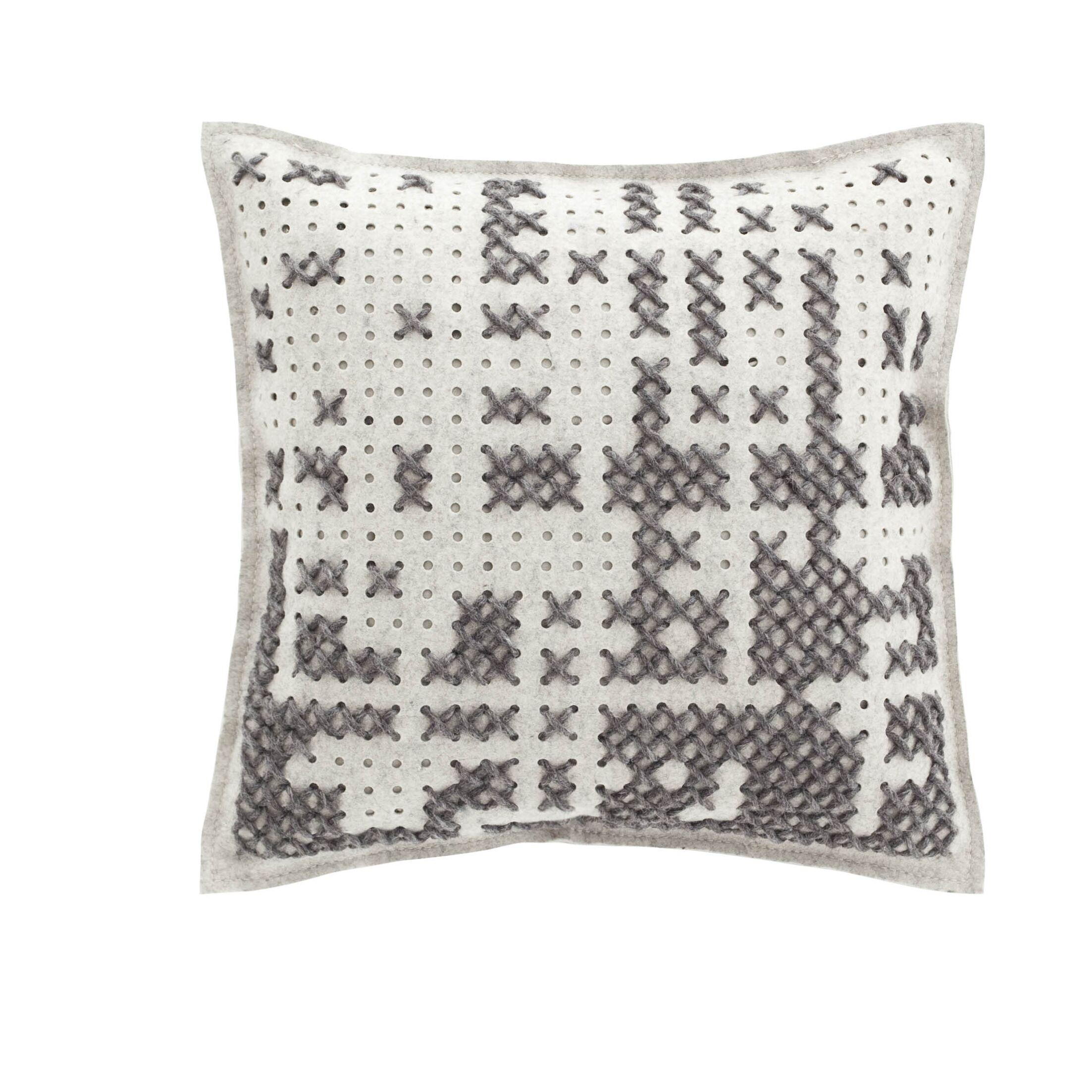 Canevas Wool Throw Pillow Color: Gray / Light Felt