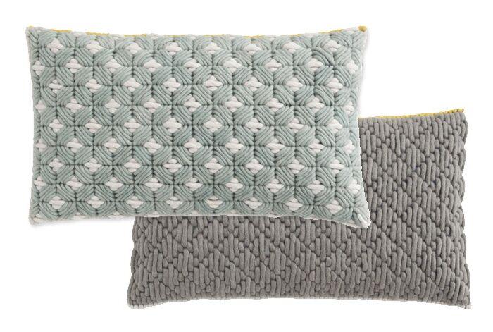 Silai Wool Lumbar Pillow Color: Celadon - Light Gray