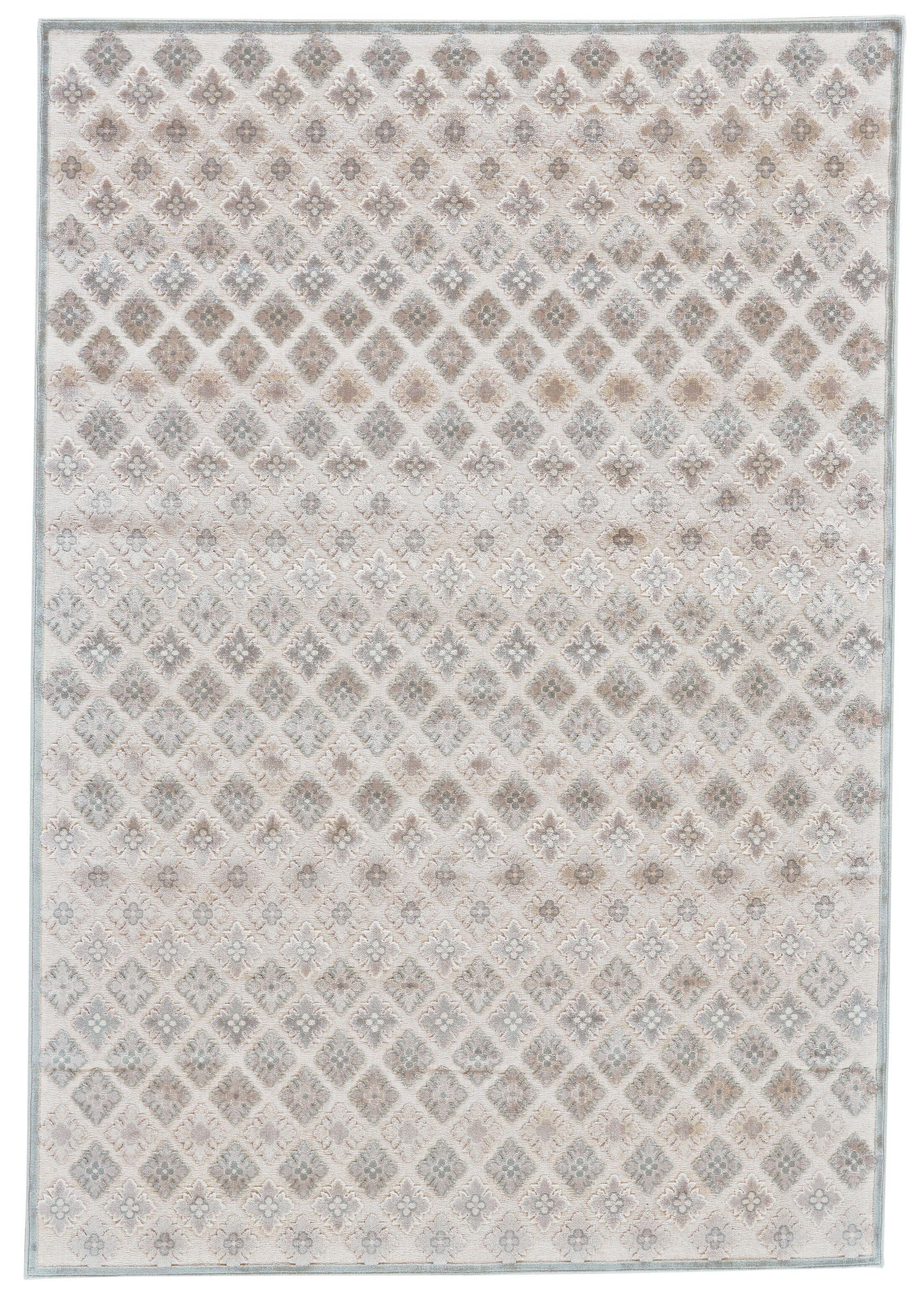 Primeaux Faux Silk Cream/Silver Area Rug Rug Size: Rectangle 5'3