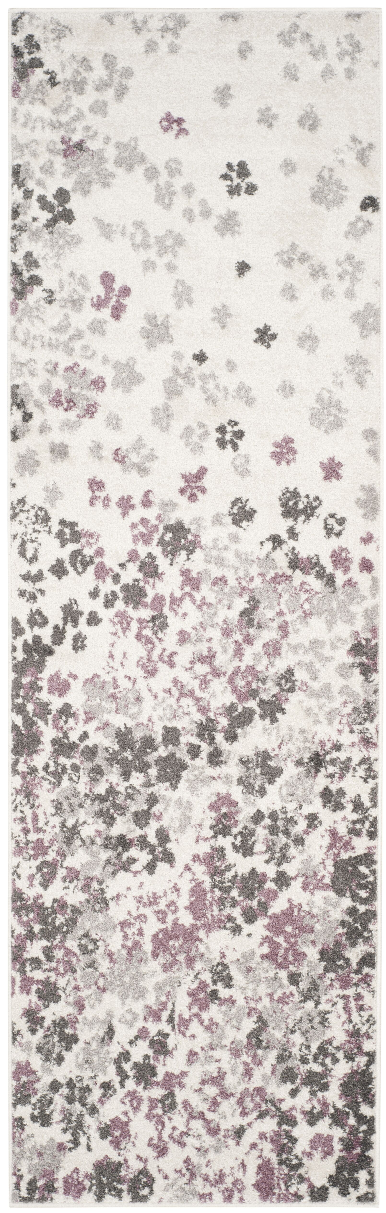 Ales Ivory/Gray/Purple Area Rug Rug Size: Runner 2'6