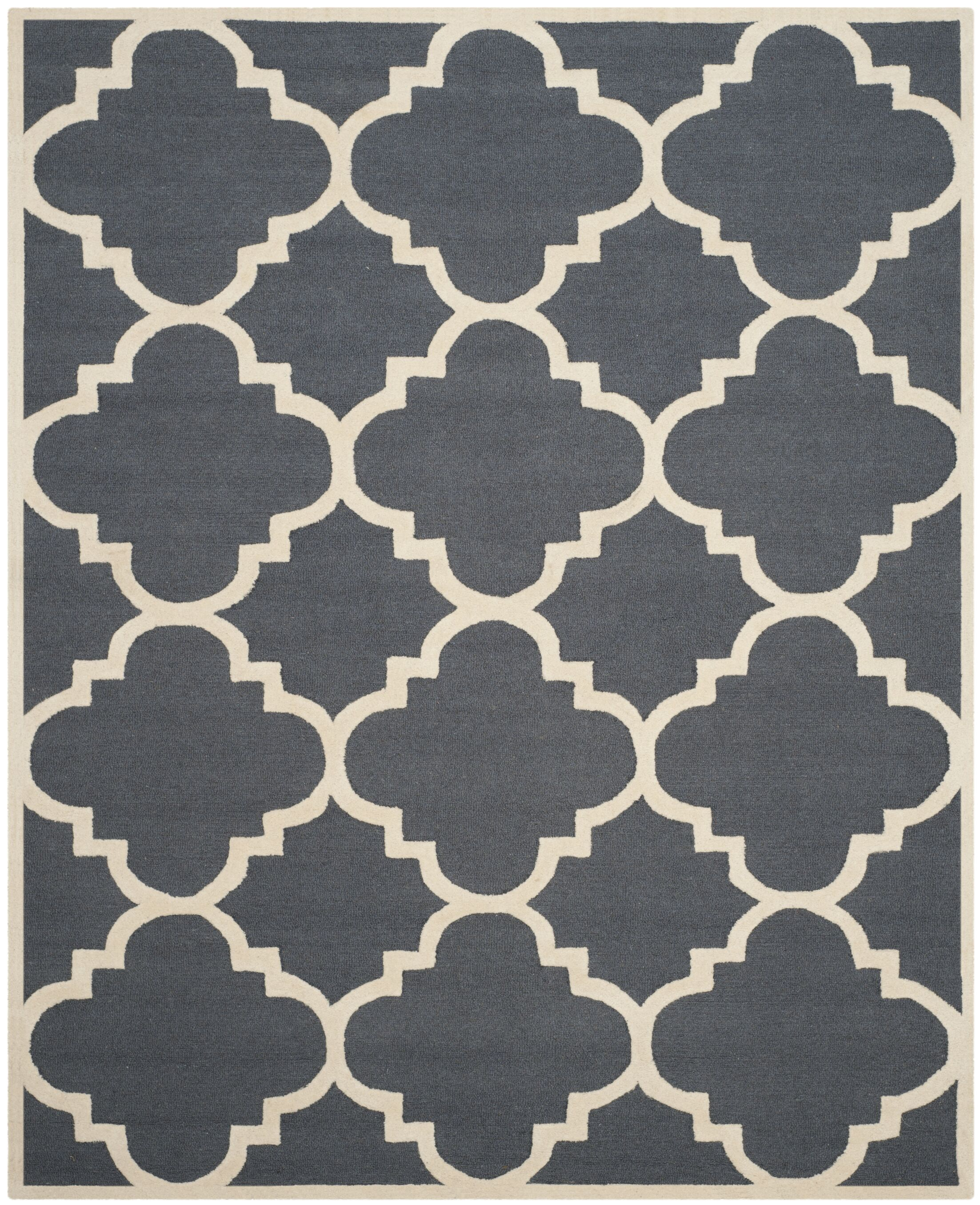 Blakemore Hand-Tufted Dark Grey/Ivory Area Rug Rug Size: Rectangle 9' x 12'