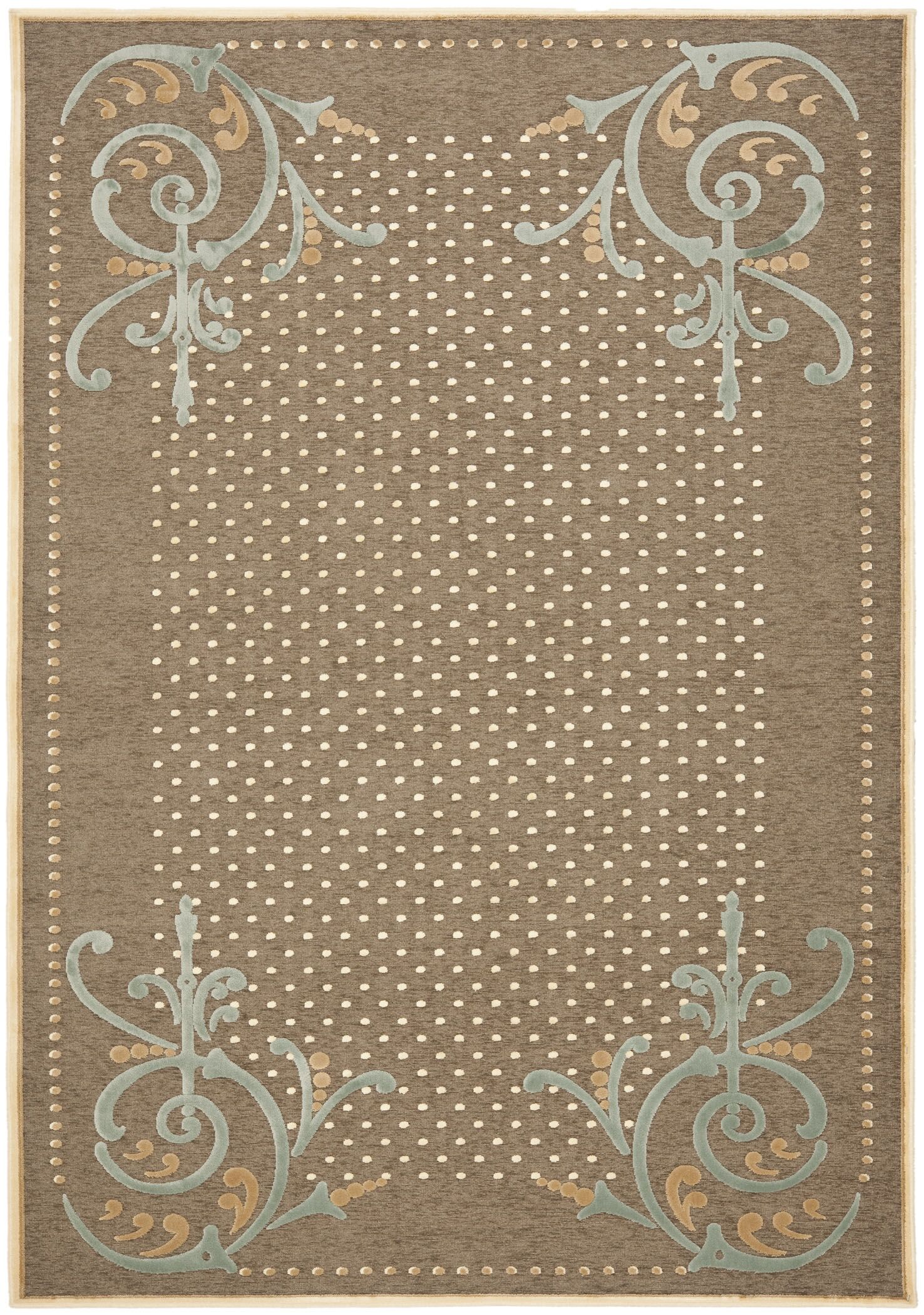 Scrollwork Hand-Loomed Brown Area Rug Rug Size: Rectangle 5'3