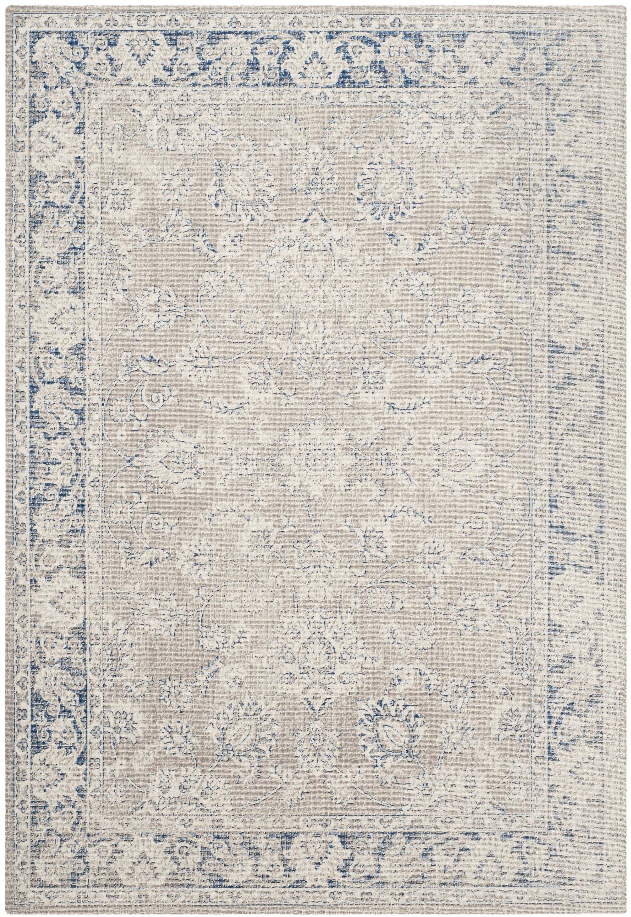 Palaiseur Taupe/Blue Area Rug Rug Size: Rectangle 5'1