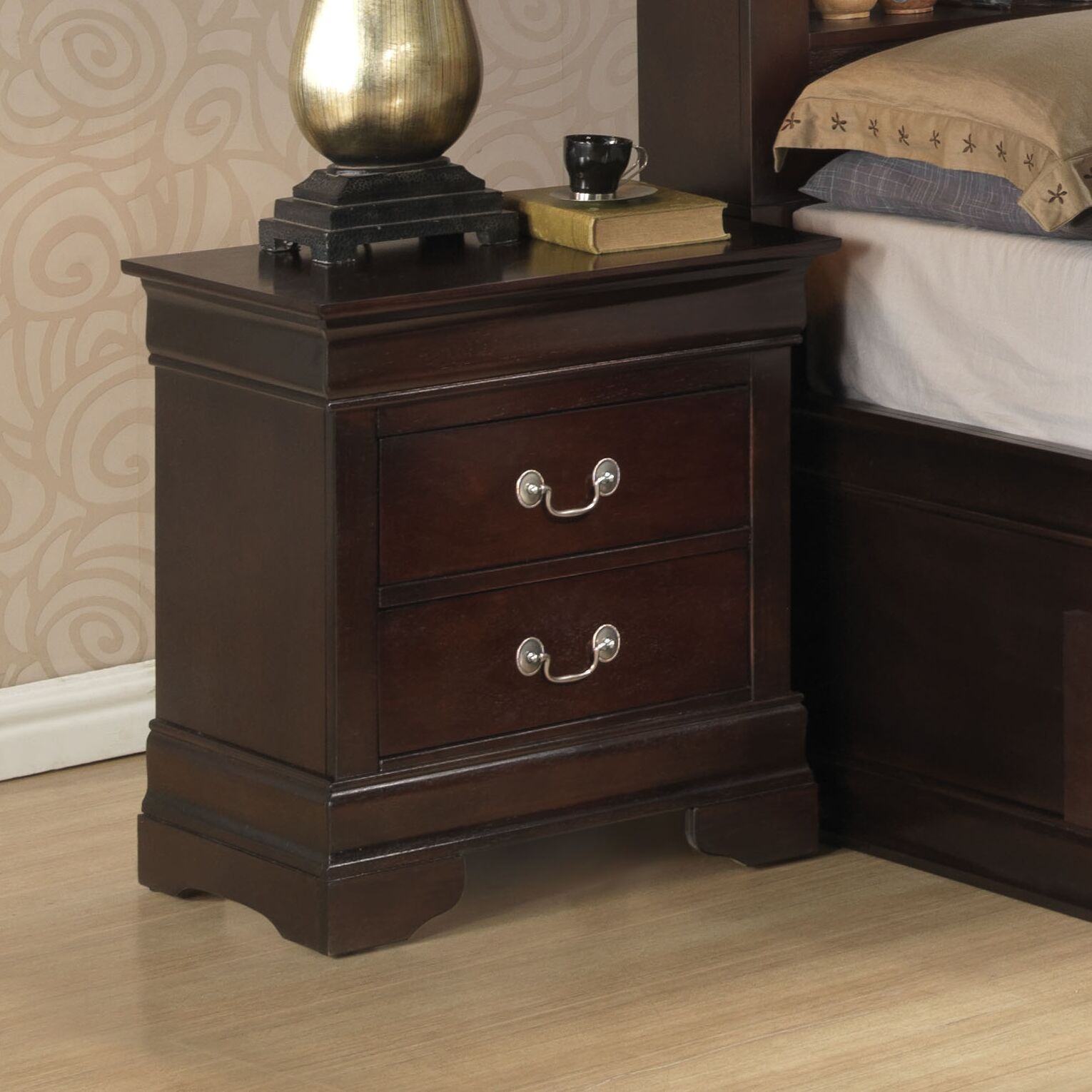 Lisle 2 Drawer Nightstand Color: Cappuccino