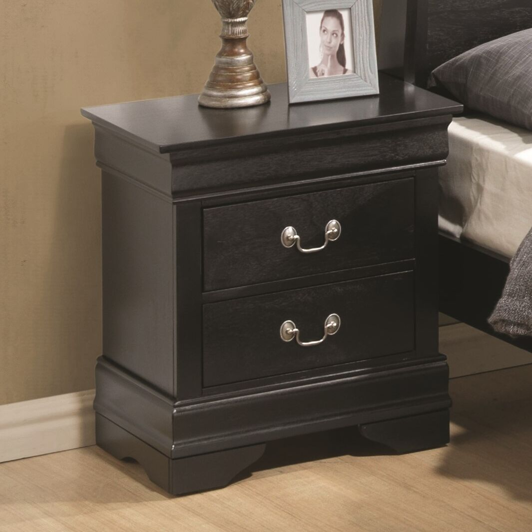 Lisle 2 Drawer Nightstand Color: Black