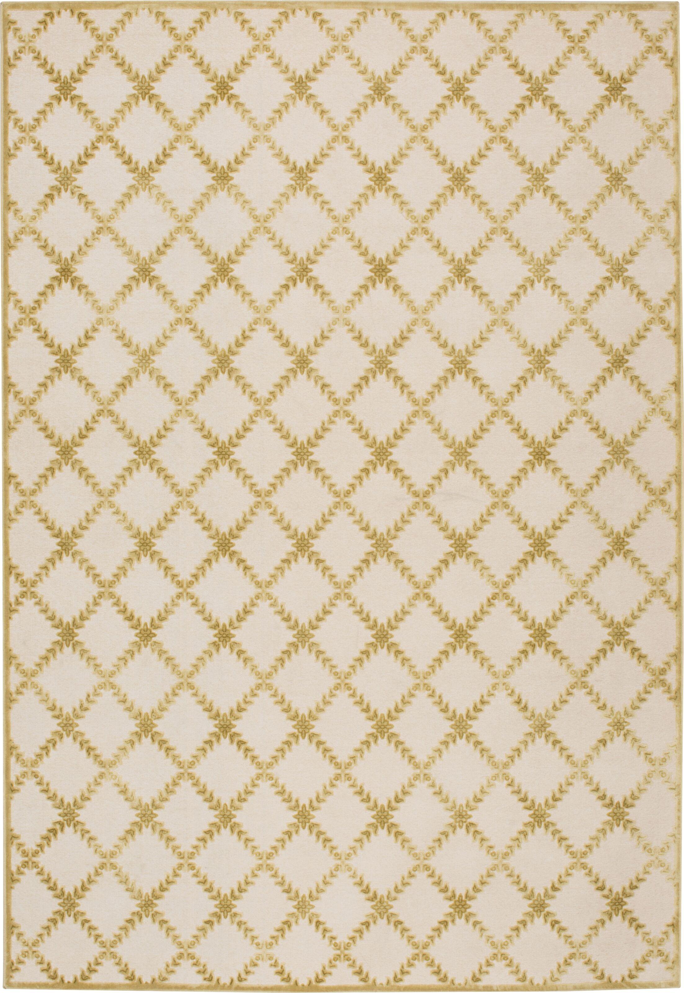 Prioleau Cream/Citrine Area Rug Rug Size: Rectangle 5'3