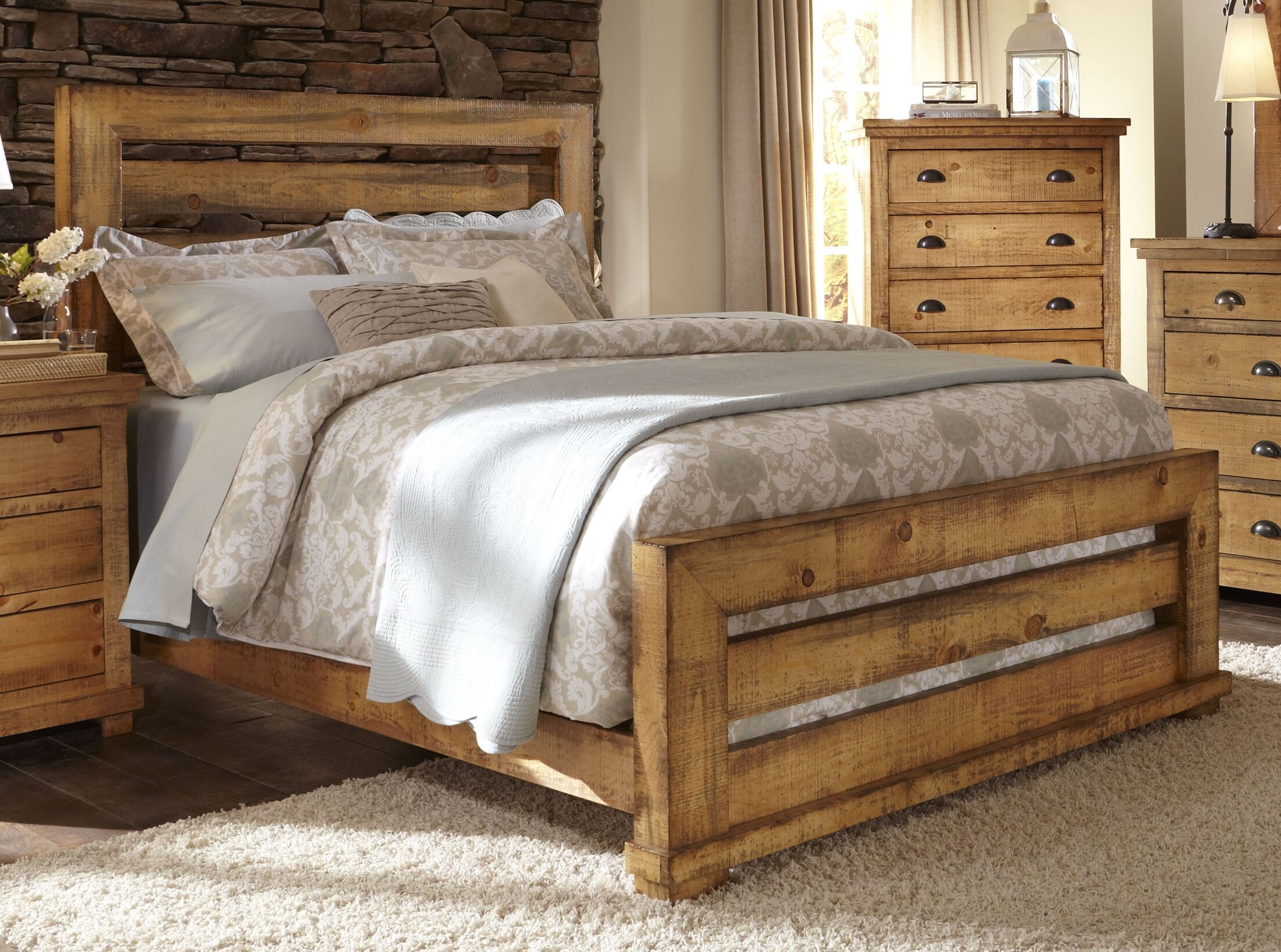 Rochelle Panel Bed Size: King, Color: Distressed Black
