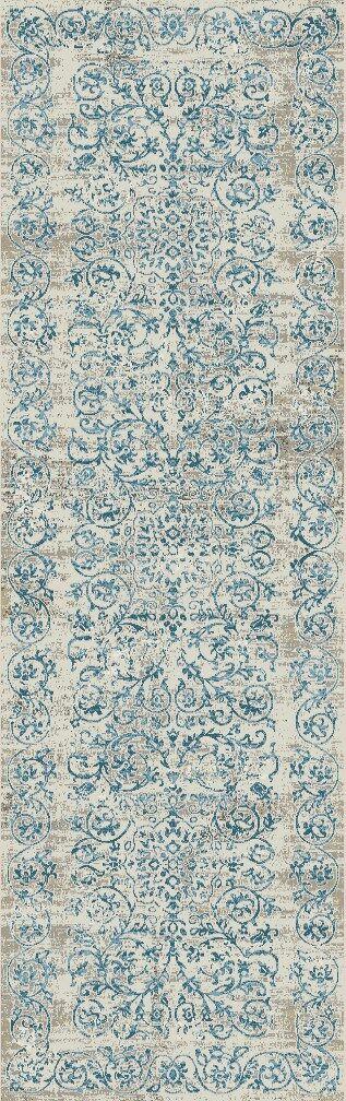 Camellia Ivory/Blue Area Rug Rug Size: Runner 2'2