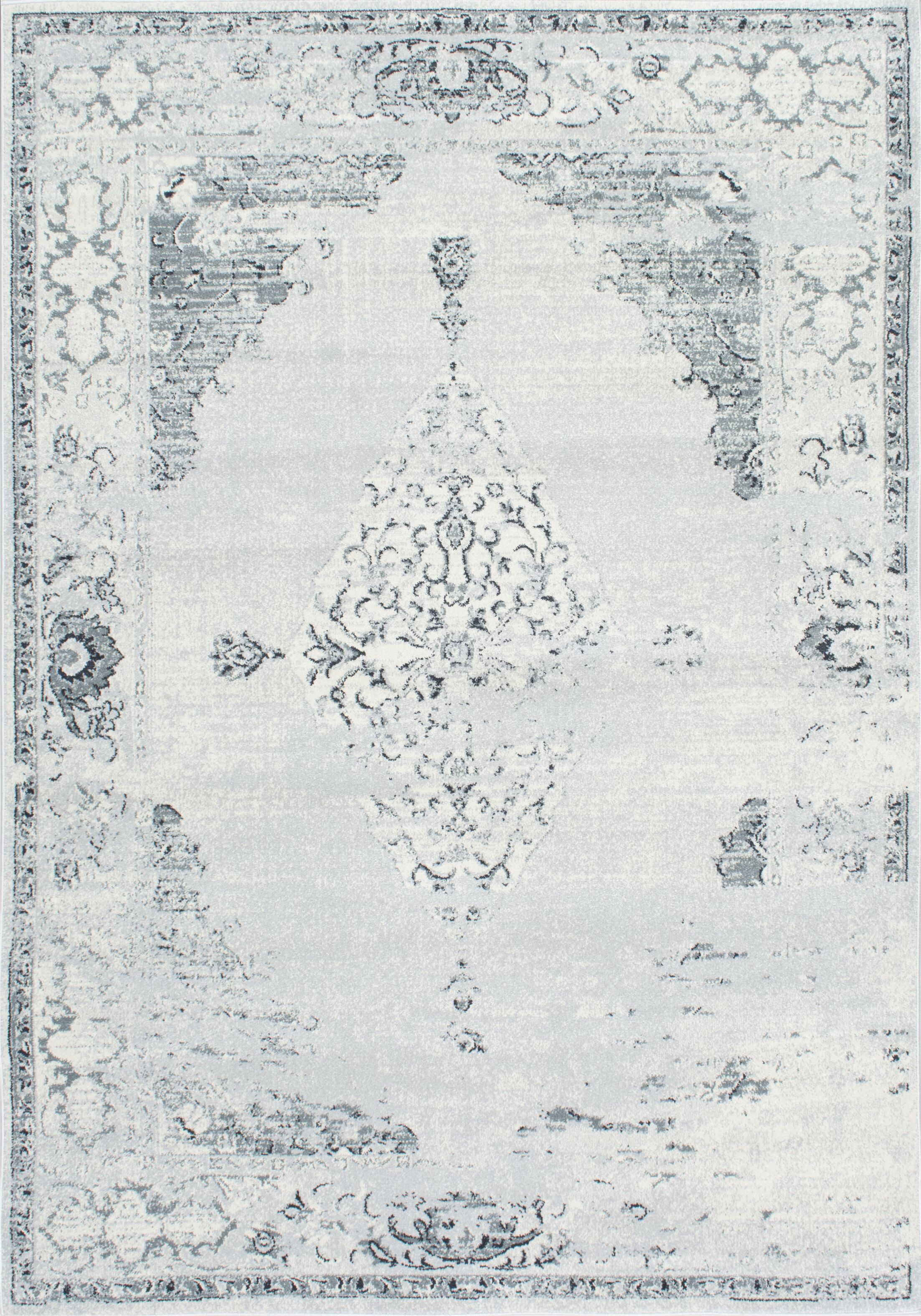 Allemans Gray Area Rug Rug Size: Rectangle 5'3
