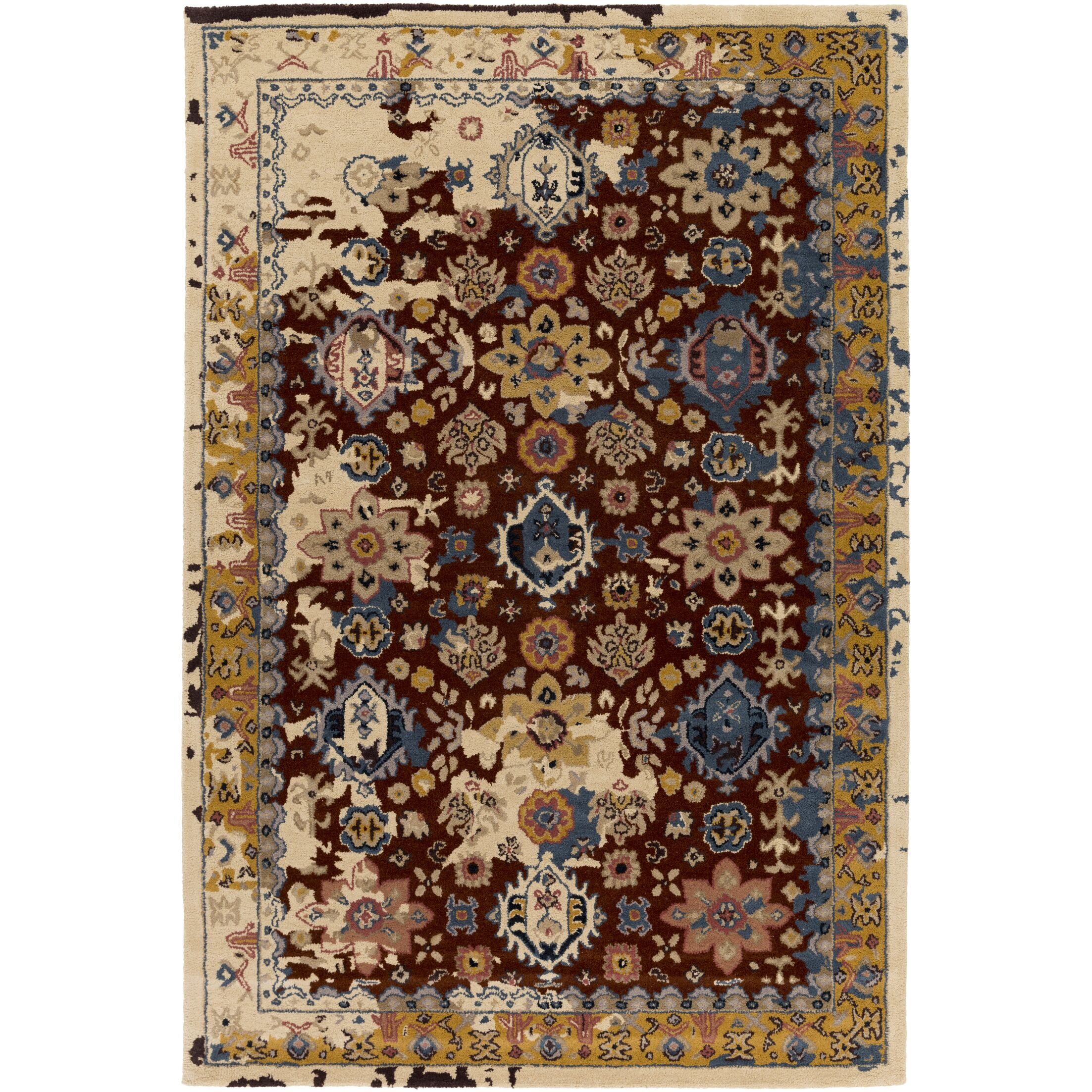 Ivan Hand-Tufted Burgundy Area Rug Rug Size: Rectangle 5' x 7'6