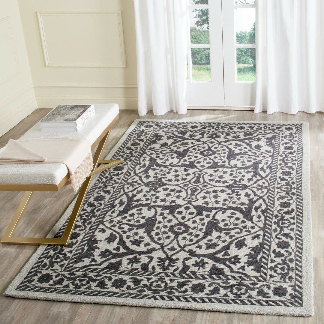 Ellicottville Hand-Tufted Silver/Gray Area Rug Rug Size: Rectangle 4' x 6'