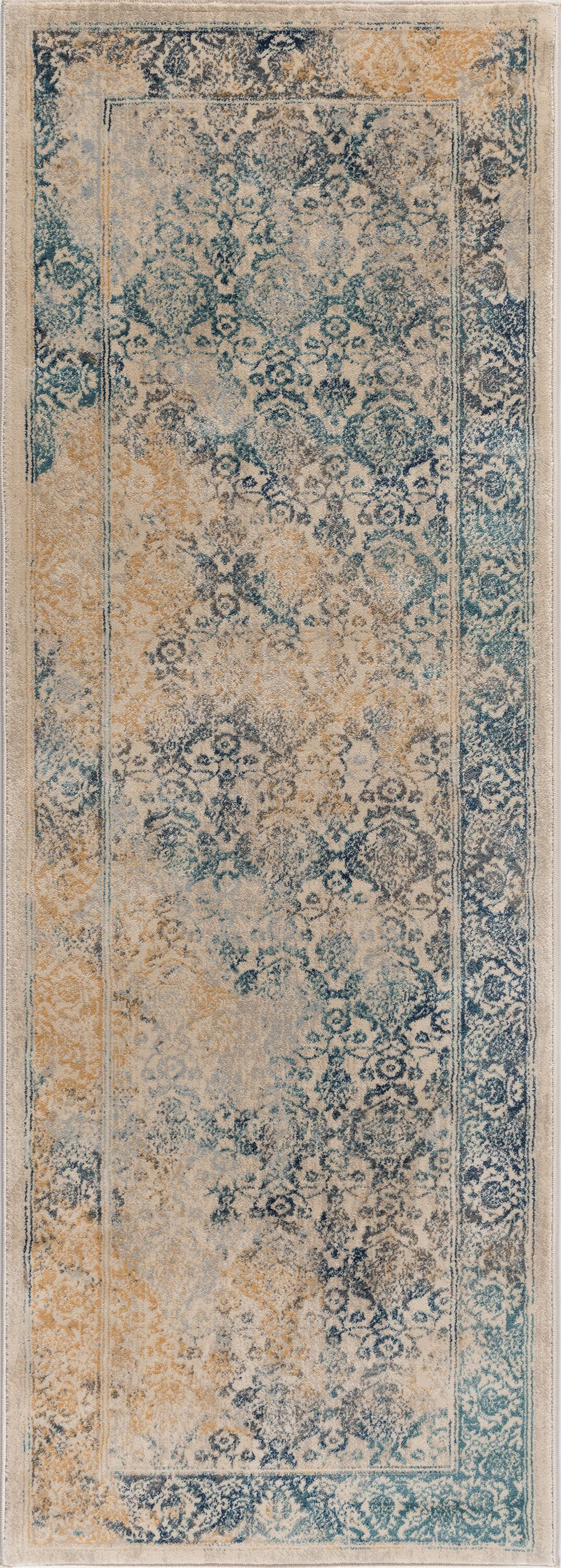 Aquila Blue/Yellow & Gold Area Rug Rug Size: 2'7'' x 7'3''
