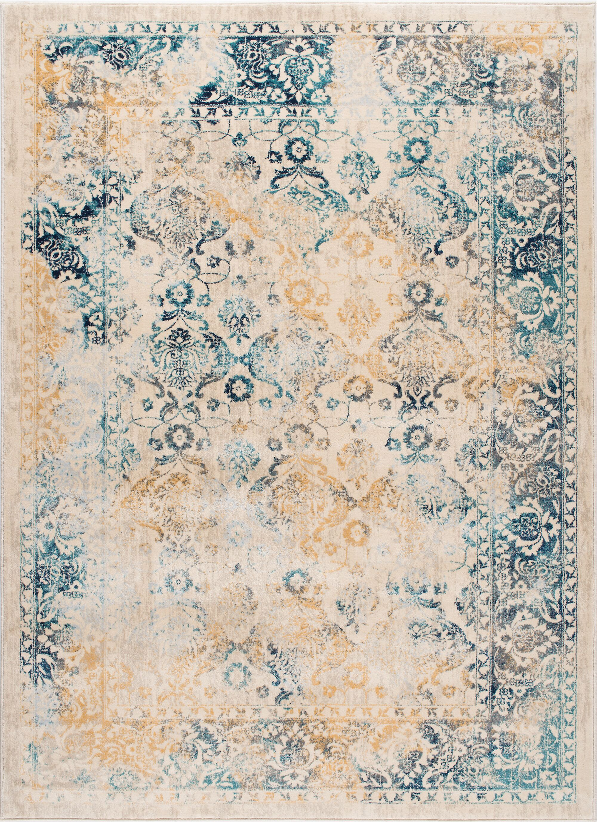Aquila Blue/Yellow & Gold Area Rug Rug Size: 7'10'' x 10'3''