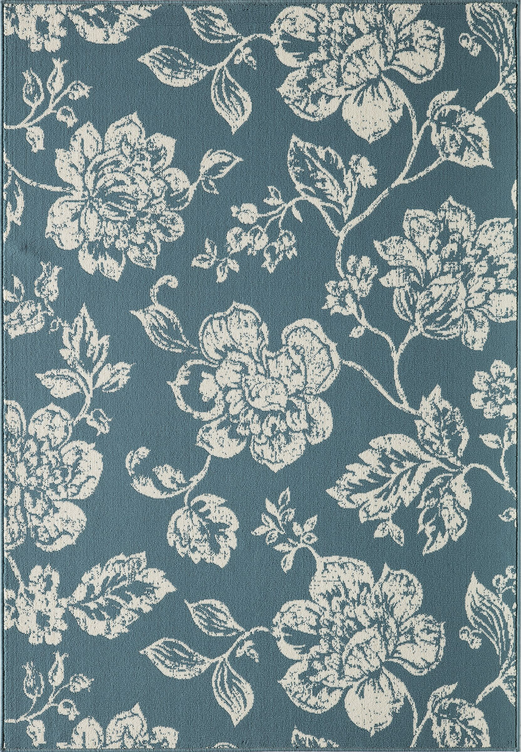 Kofi Blue/Ivory Indoor/Outdoor Area Rug Rug Size: Rectangle 5'3