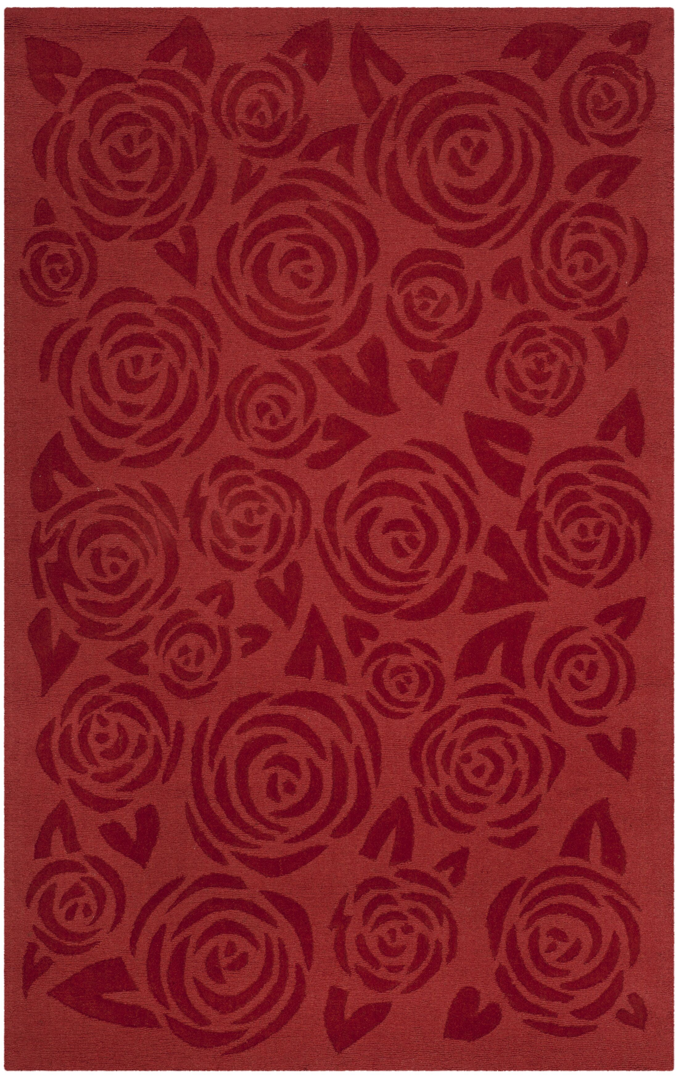 Block Rose Hand-Loomed Red Vermillon Area Rug Rug Size: Rectangle 5' x 8'