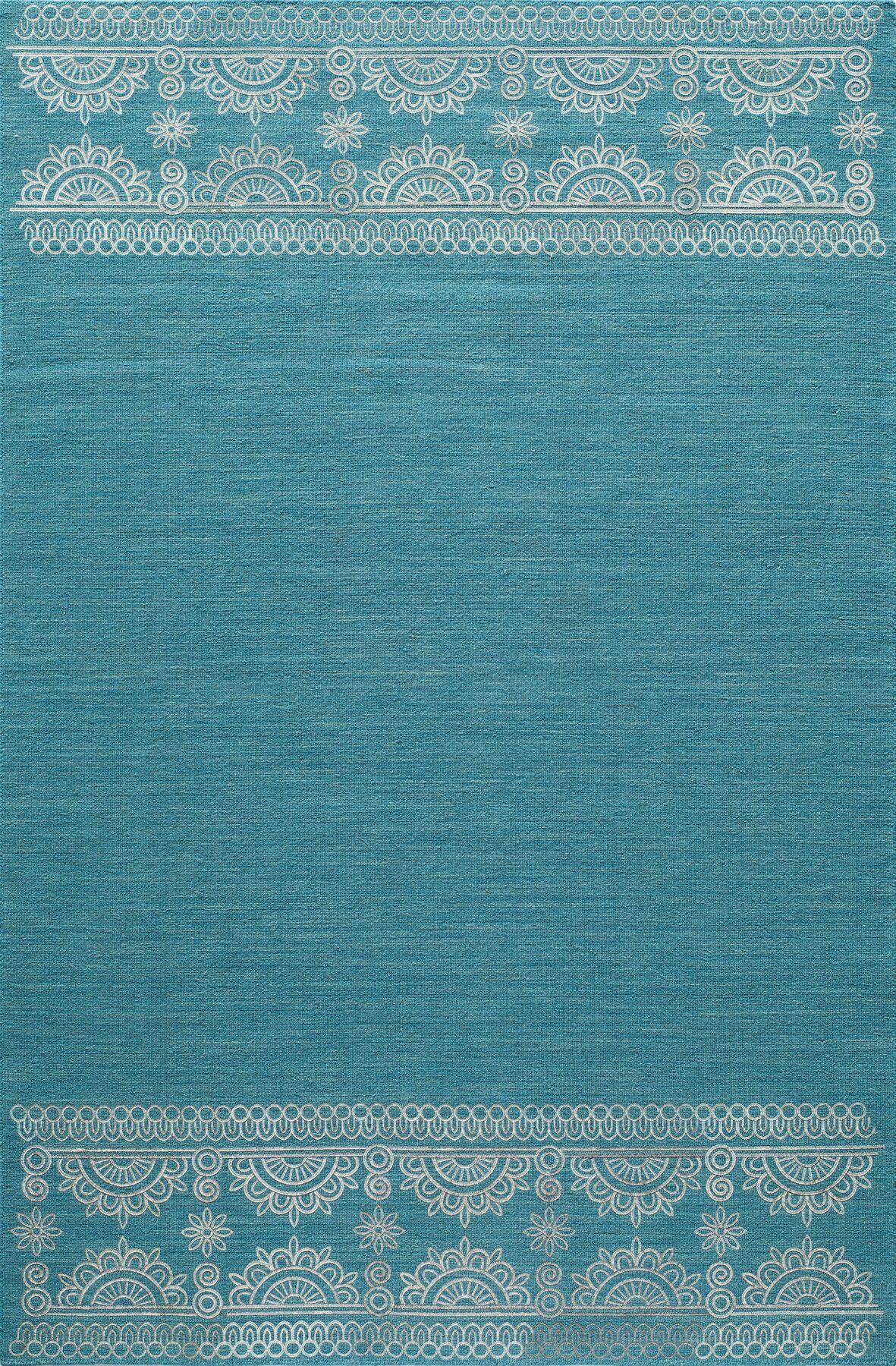 Dyann Hand-Woven Teal Area Rug Rug Size: Rectangle 3'6
