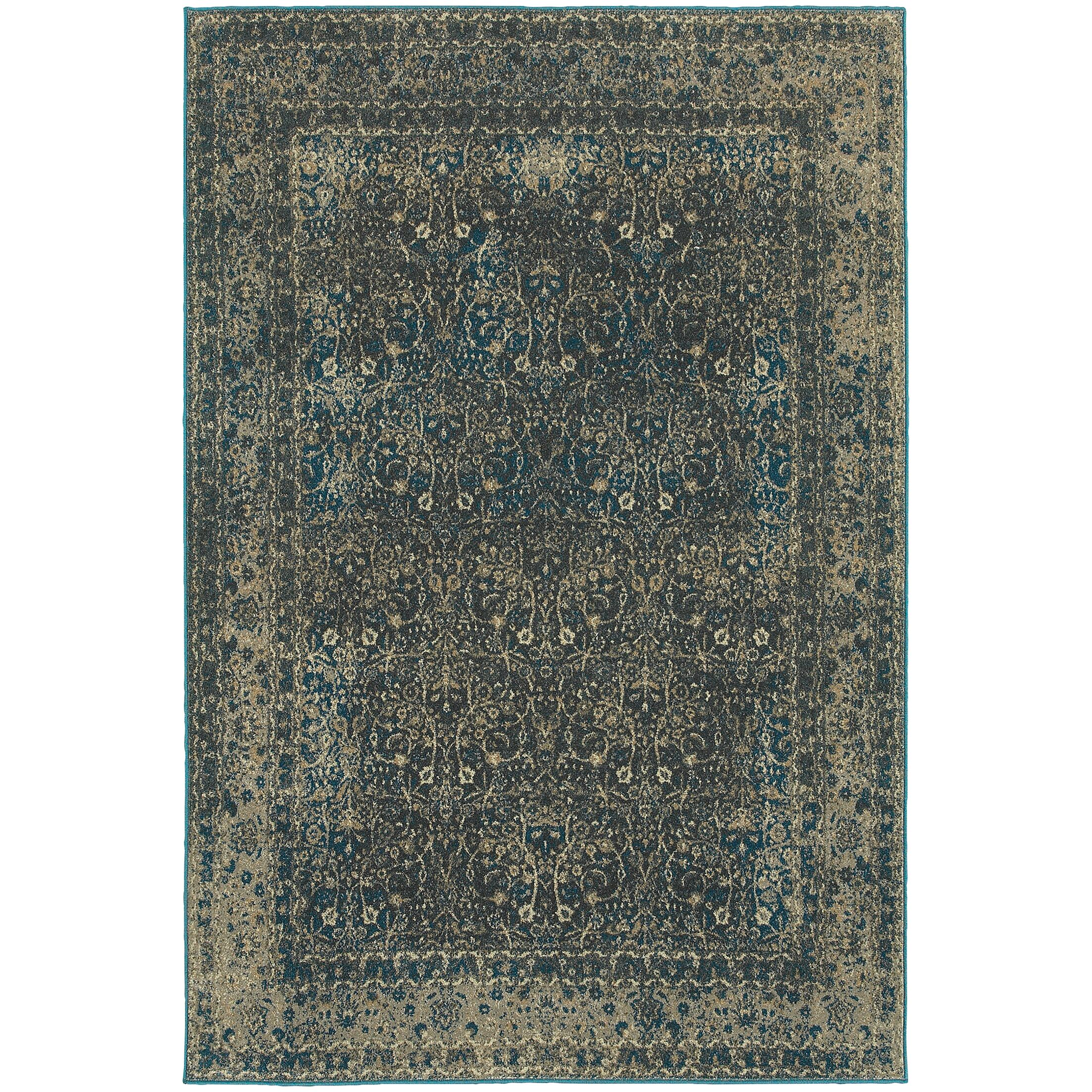Pheonix Navy/Gray Area Rug Rug Size: Rectangle 7'10