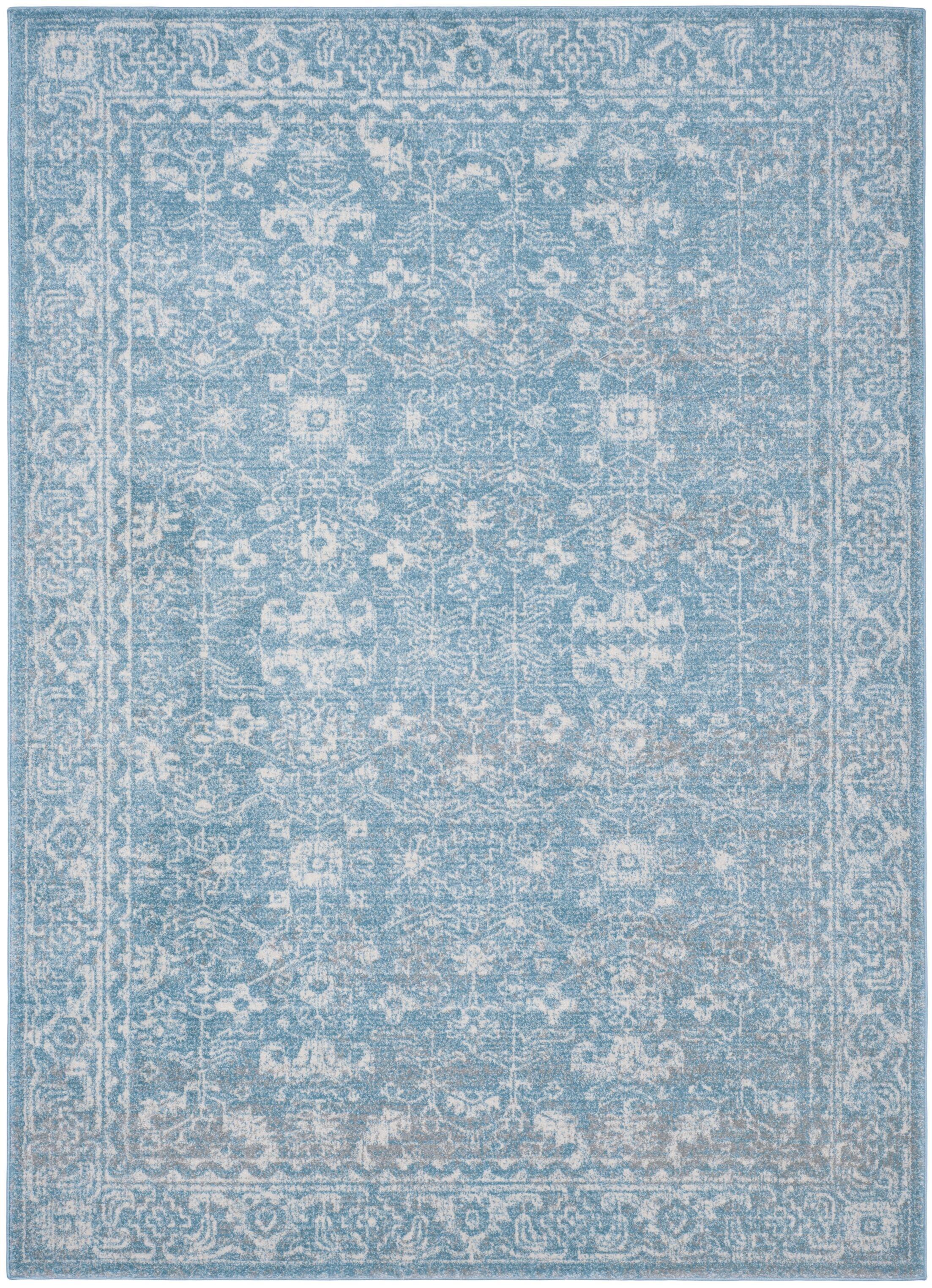 Melia Light Blue/Ivory Area Rug Rug Size: Rectangle 5'1