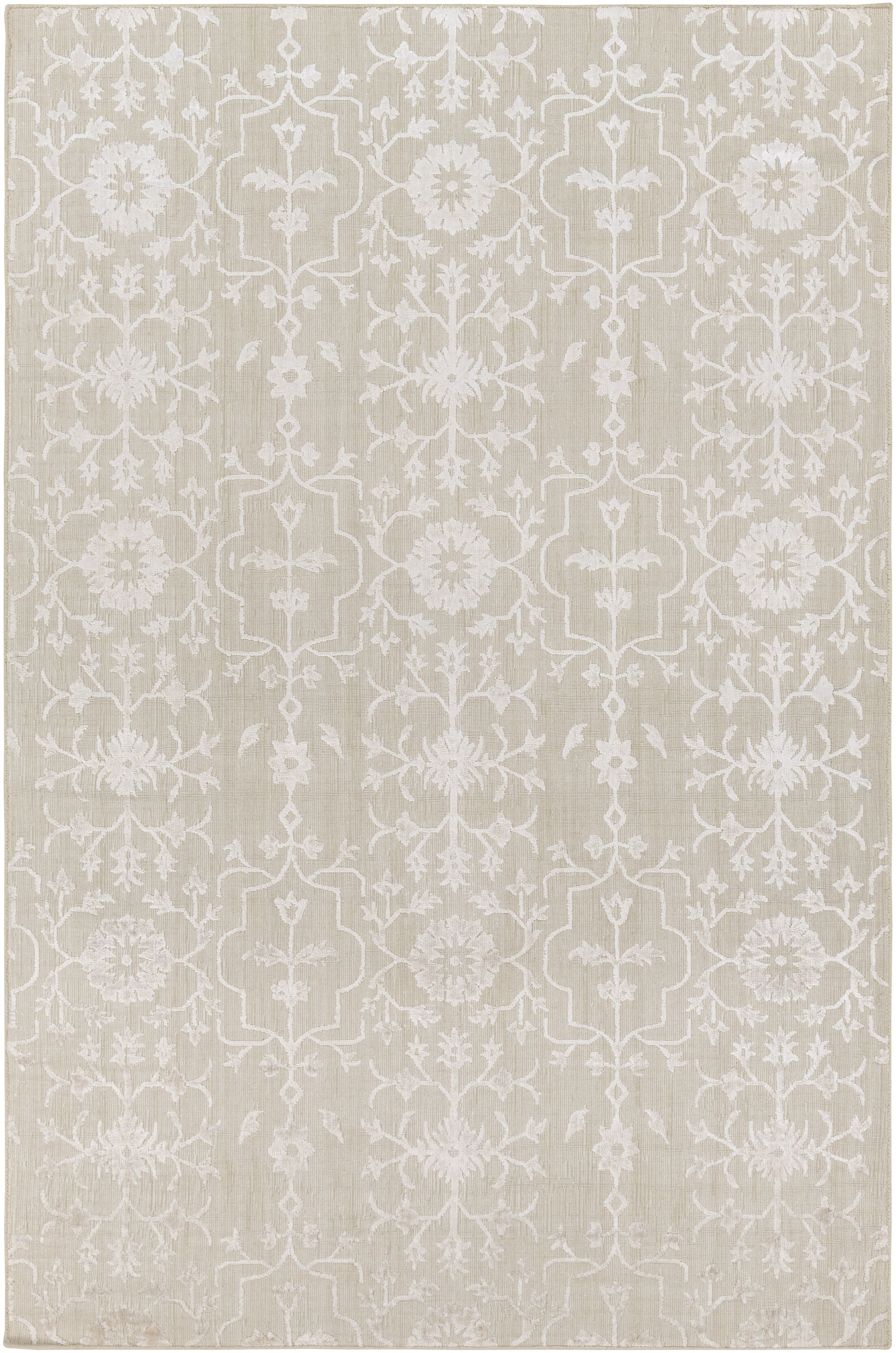 Poirier Hand-Knotted Khaki/White Area Rug Rug Size: Rectangle 6' x 9'