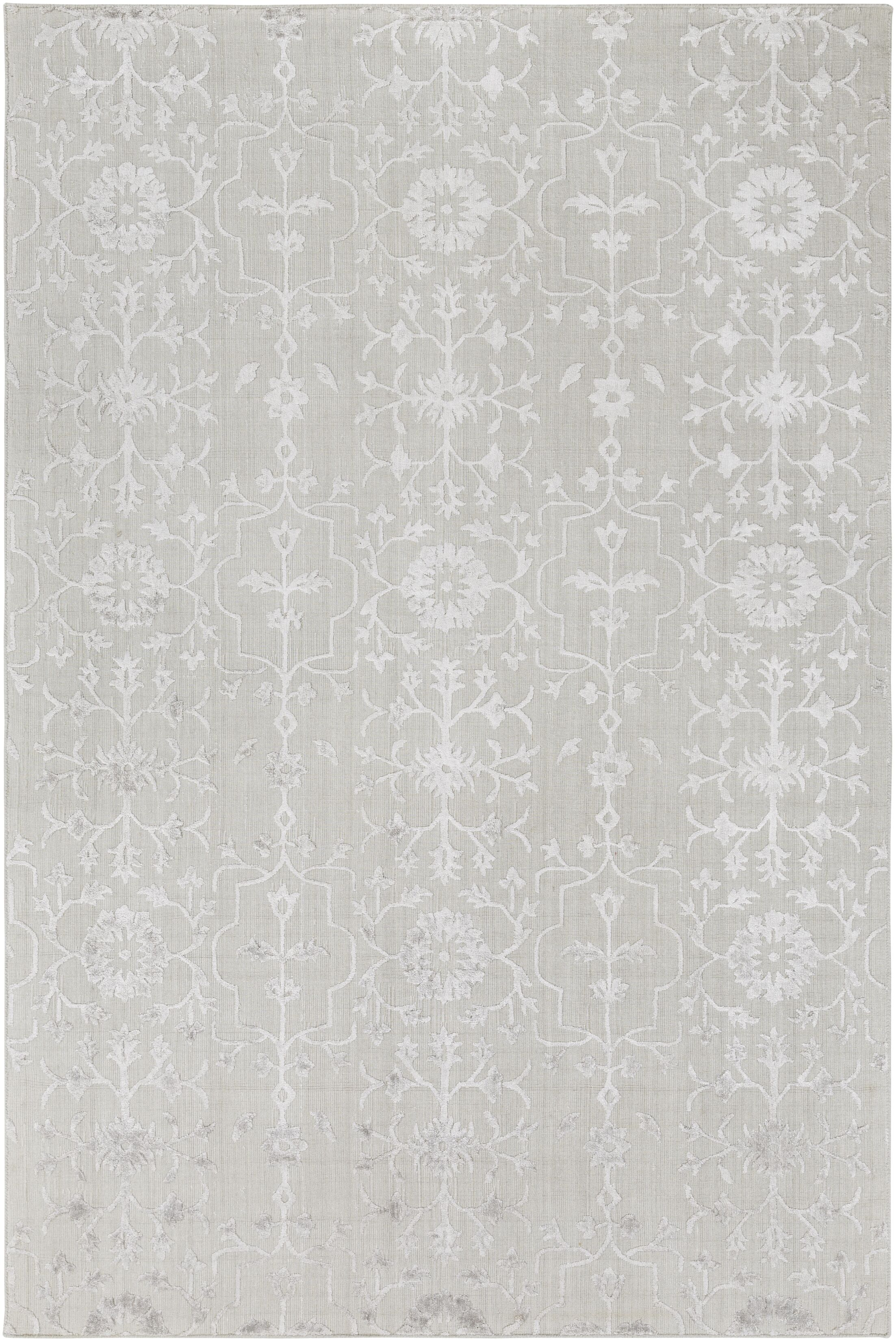 Poirier Hand-Knotted Light Gray Area Rug Rug Size: Rectangle 2' x 3'
