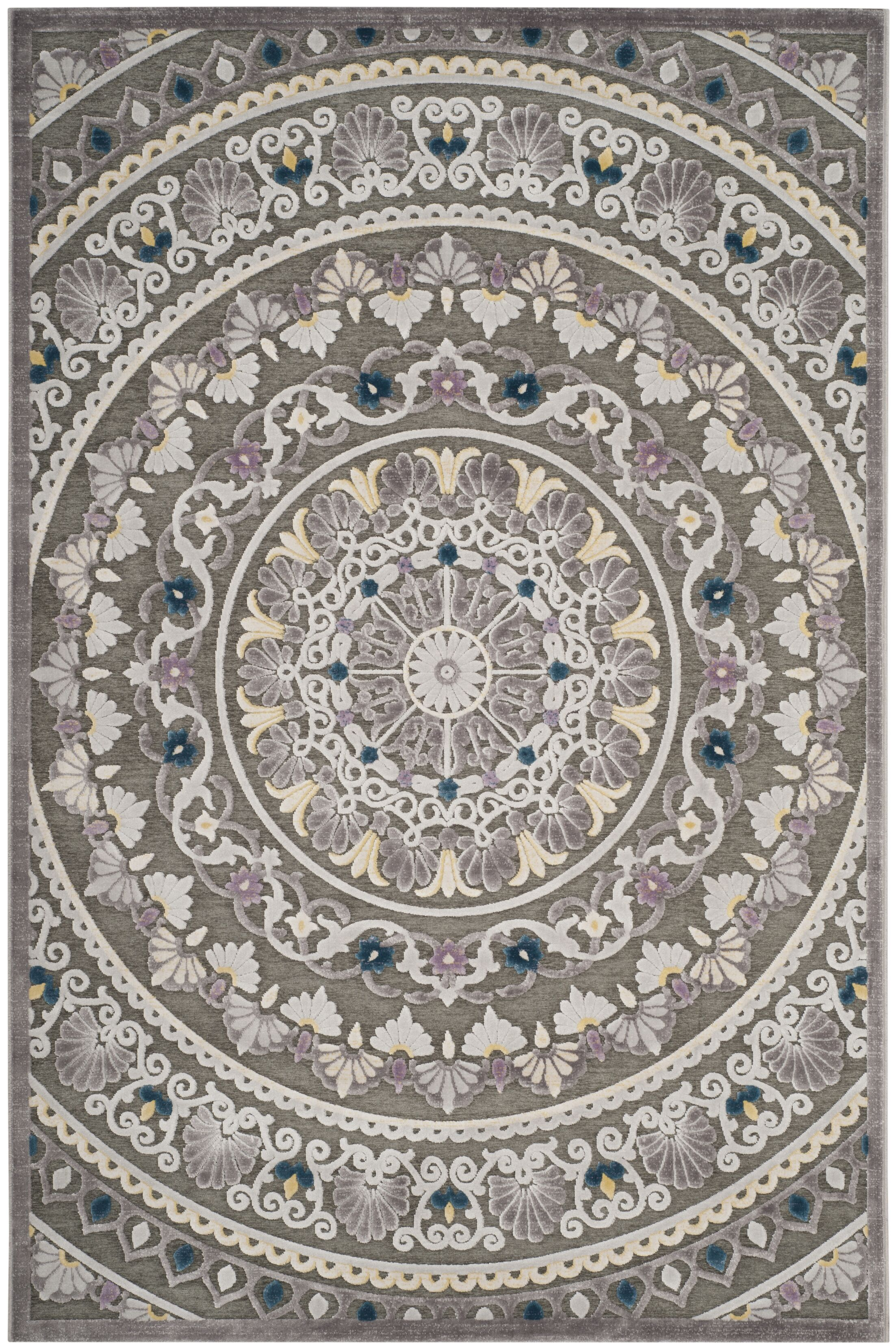 Boyer Gray/Beige Area Rug Rug Size: Square 6'7