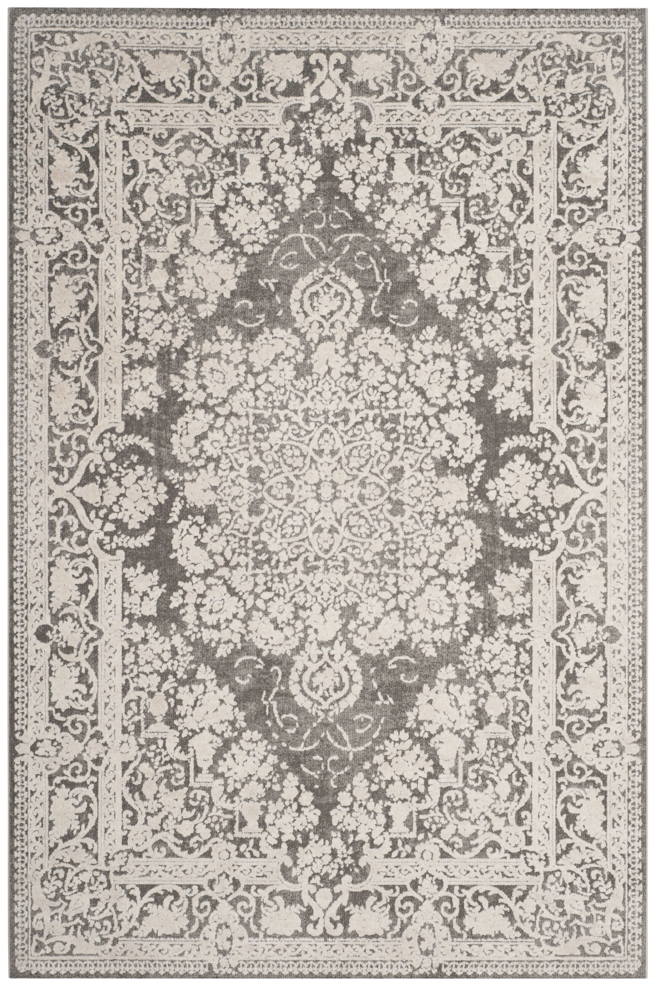 Pellot Dark Gray/Cream Area Rug Rug Size: Round 6'7