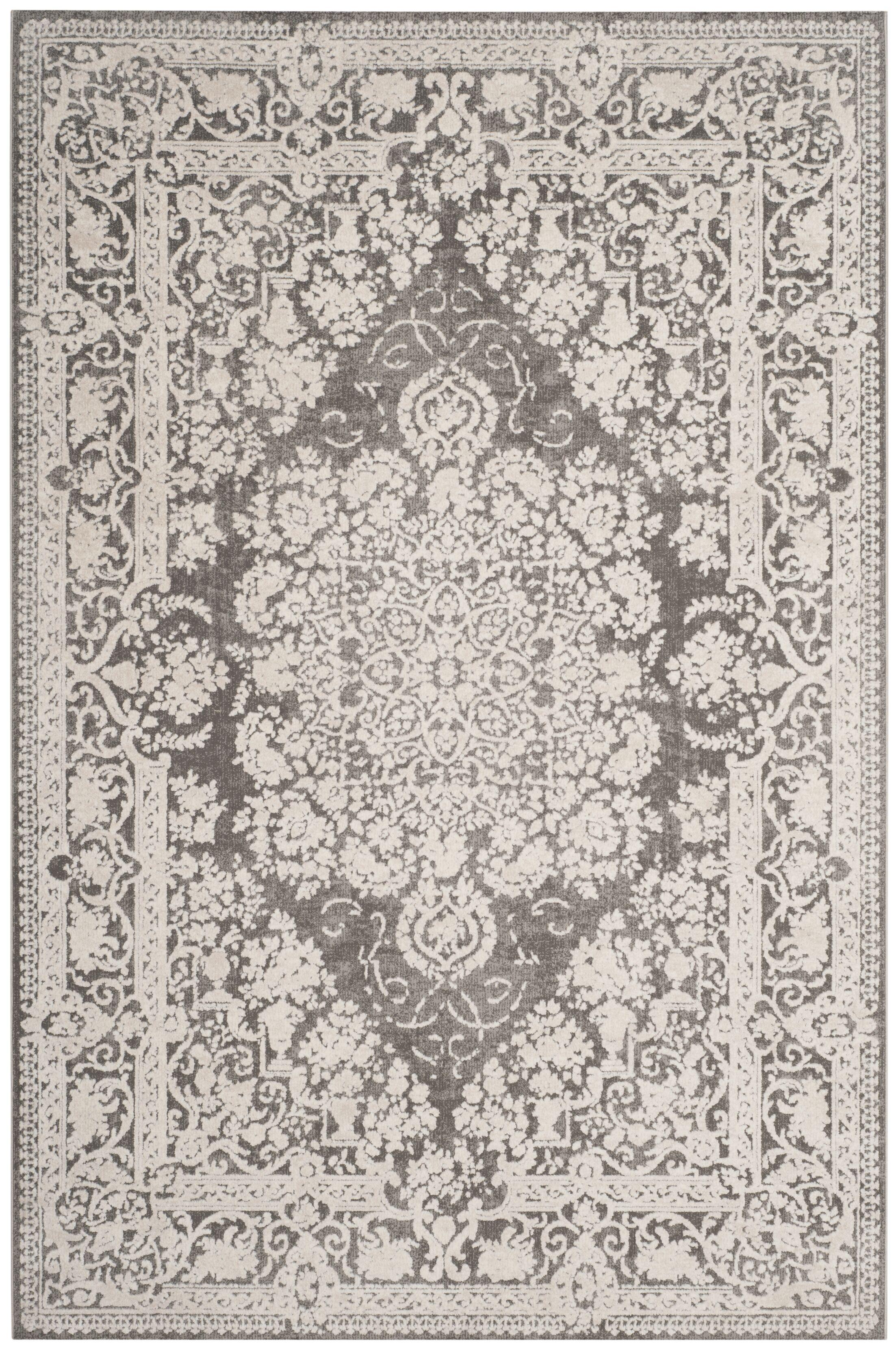 Pellot Dark Gray/Cream Area Rug Rug Size: Rectangle 8' x 10'