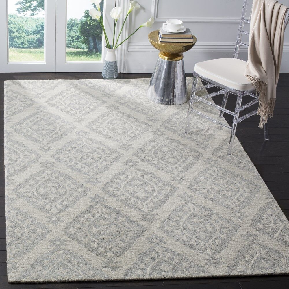 Peltz Hand-Tufted Gray Area Rug Rug Size: Rectangle 3' x 5'