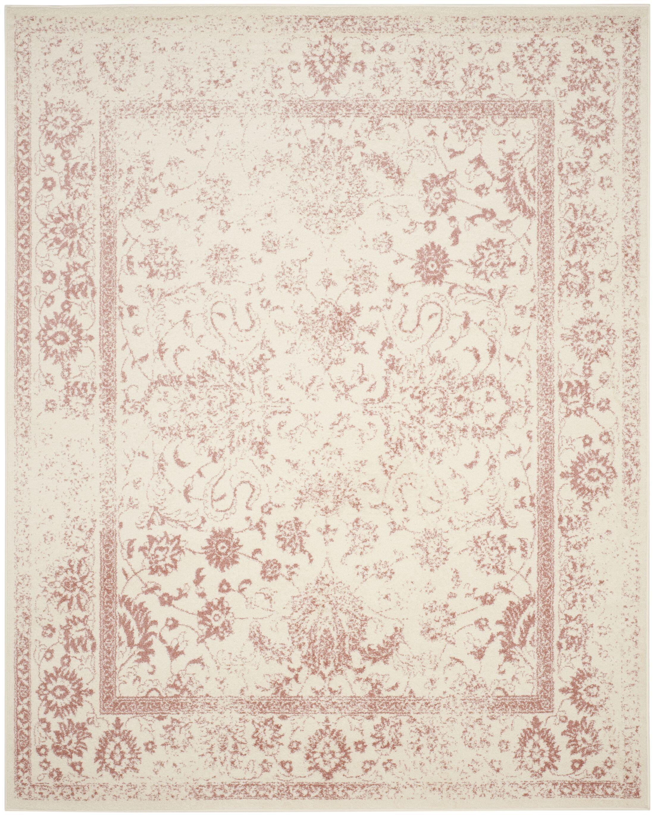 Howton Ivory/Rose Area Rug Rug Size: Rectangle 10' x 14'