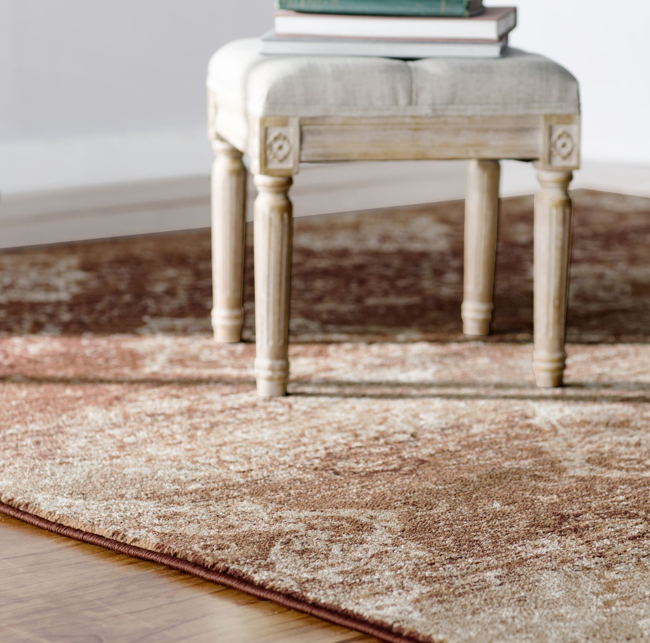 Giroflee Tan/Cream Area Rug Rug Size: Rectangle 7'7