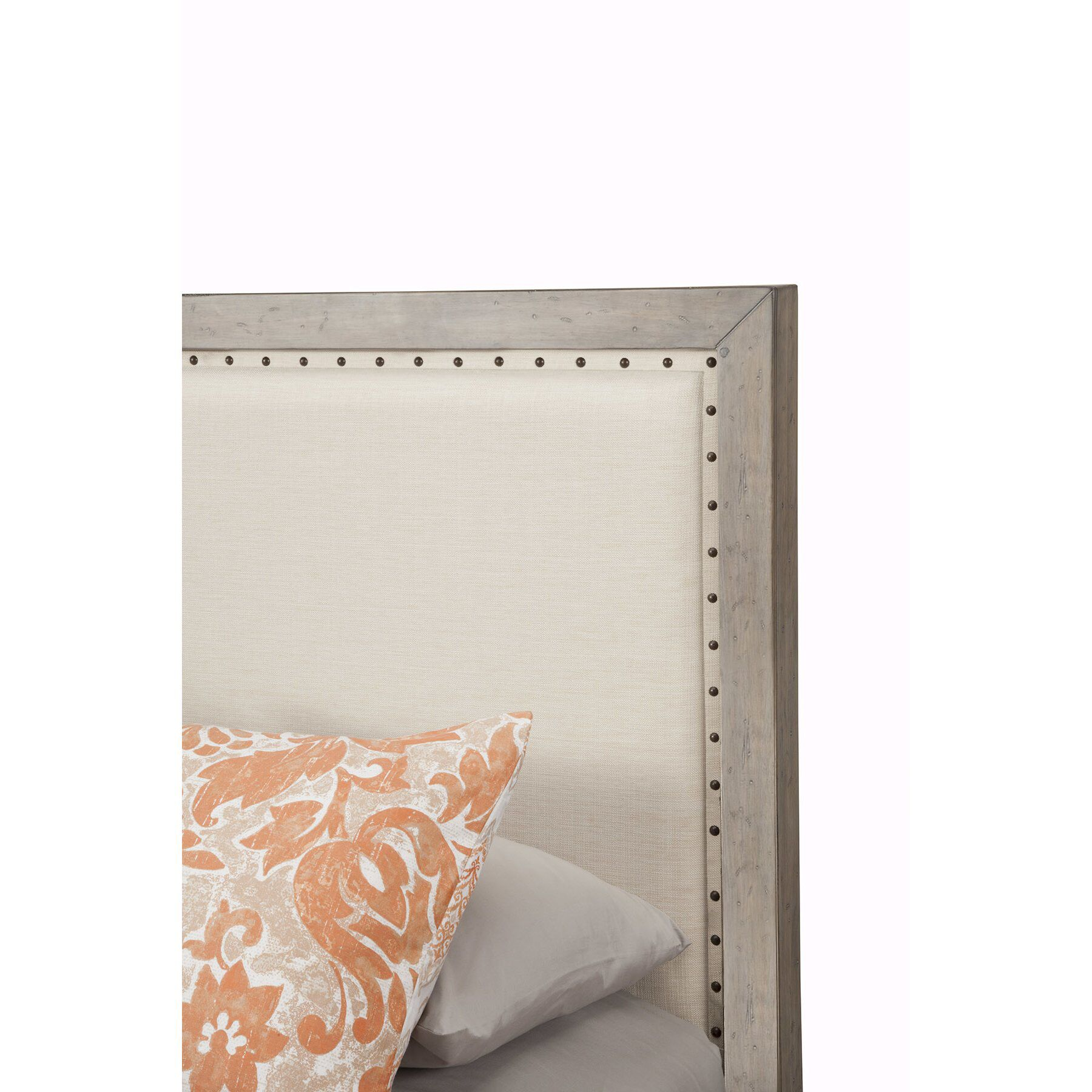 Burgundy Upholstered Panel Bed Size: Queen