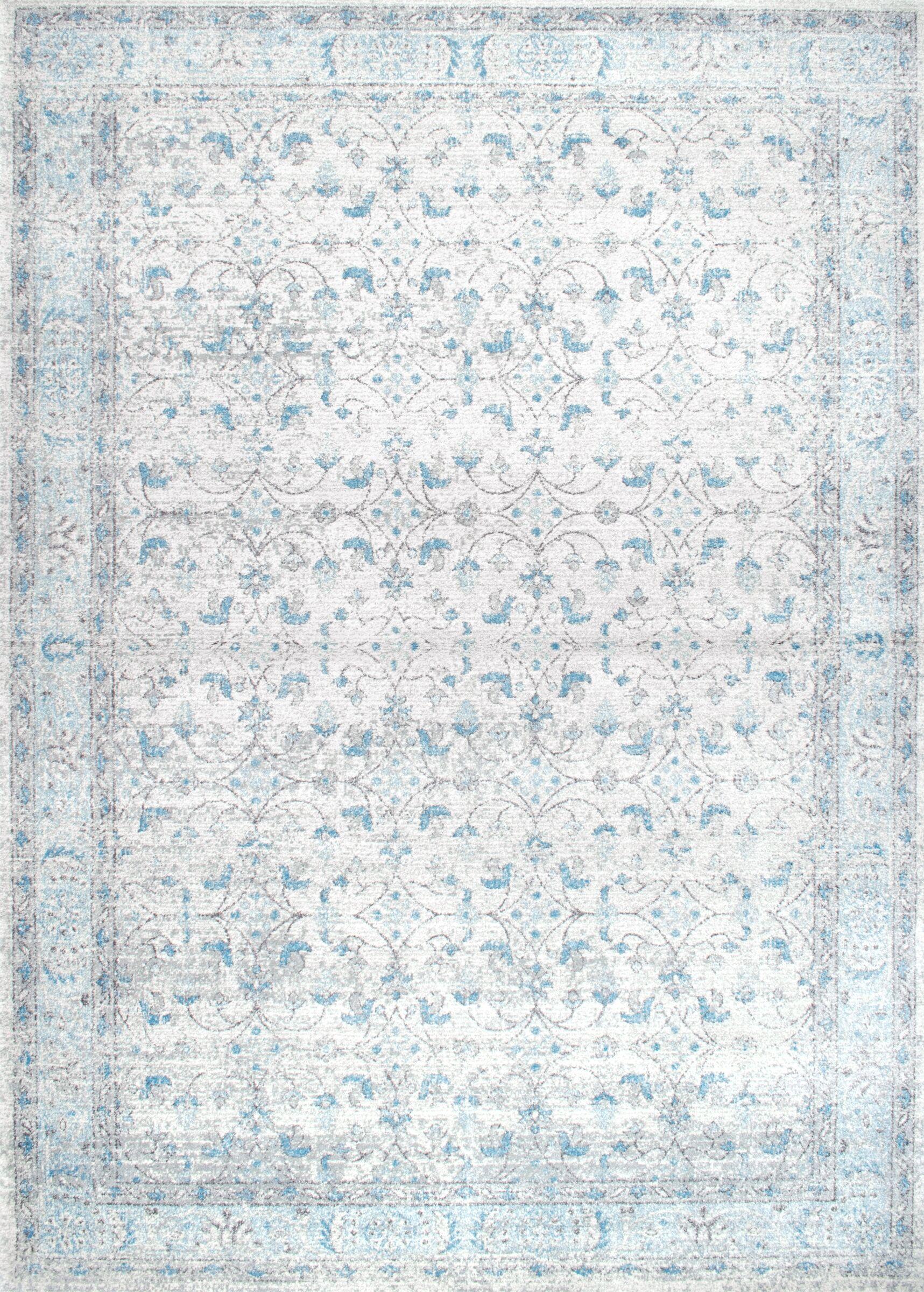 Navarrete Ivory & Cream/Blue Area Rug Rug Size: Rectangle 5' x 7'5