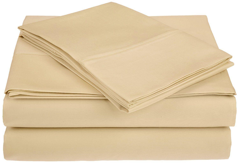 Saine 450 Thread Count 100% Cotton Sheet Set Size: California King, Color: Sand