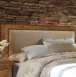 Castagnier Upholstered Panel headboard Color: Distressed Pine, Size: Queen