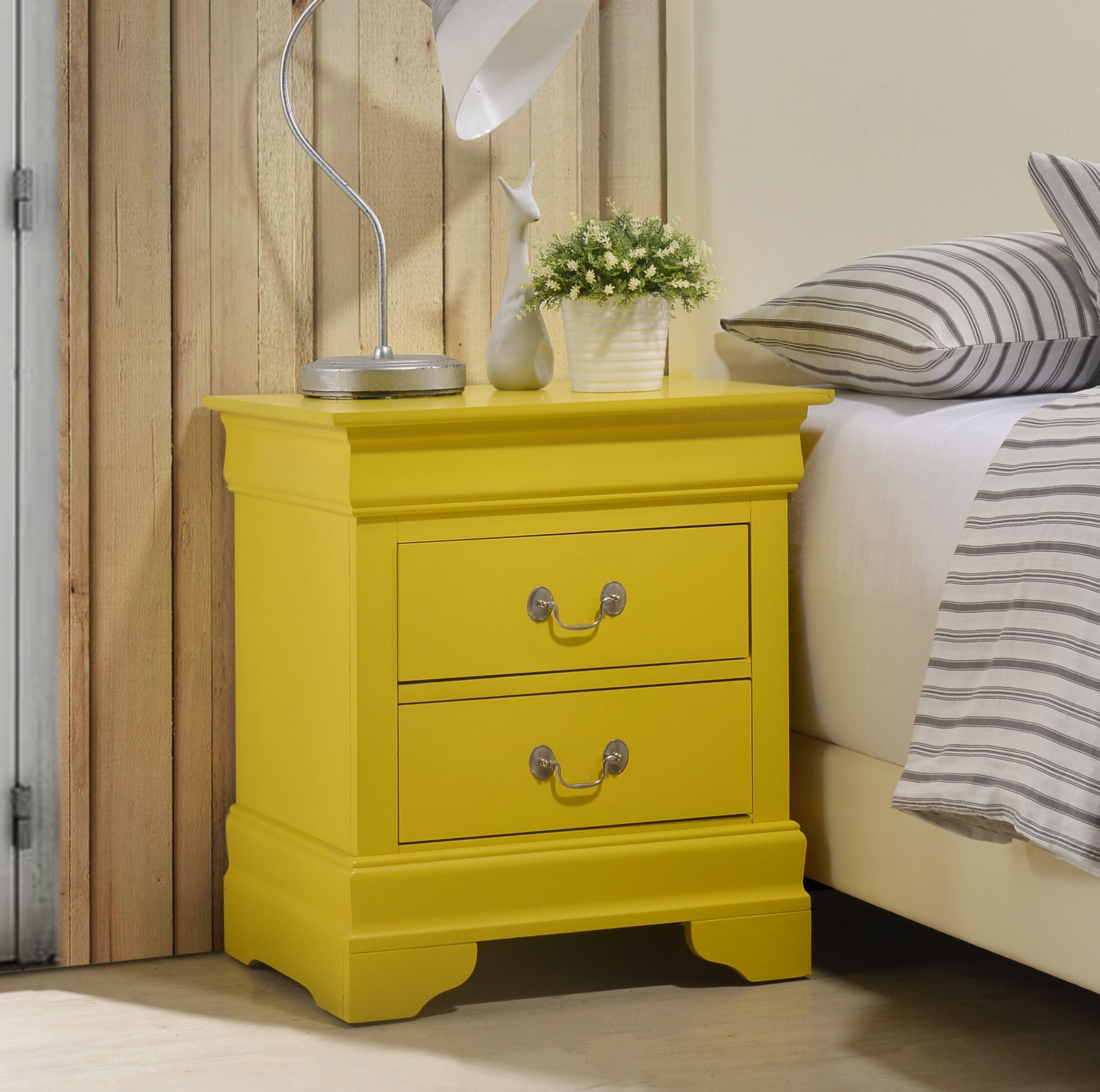 Lisle 2 Drawer Nightstand Color: Yellow
