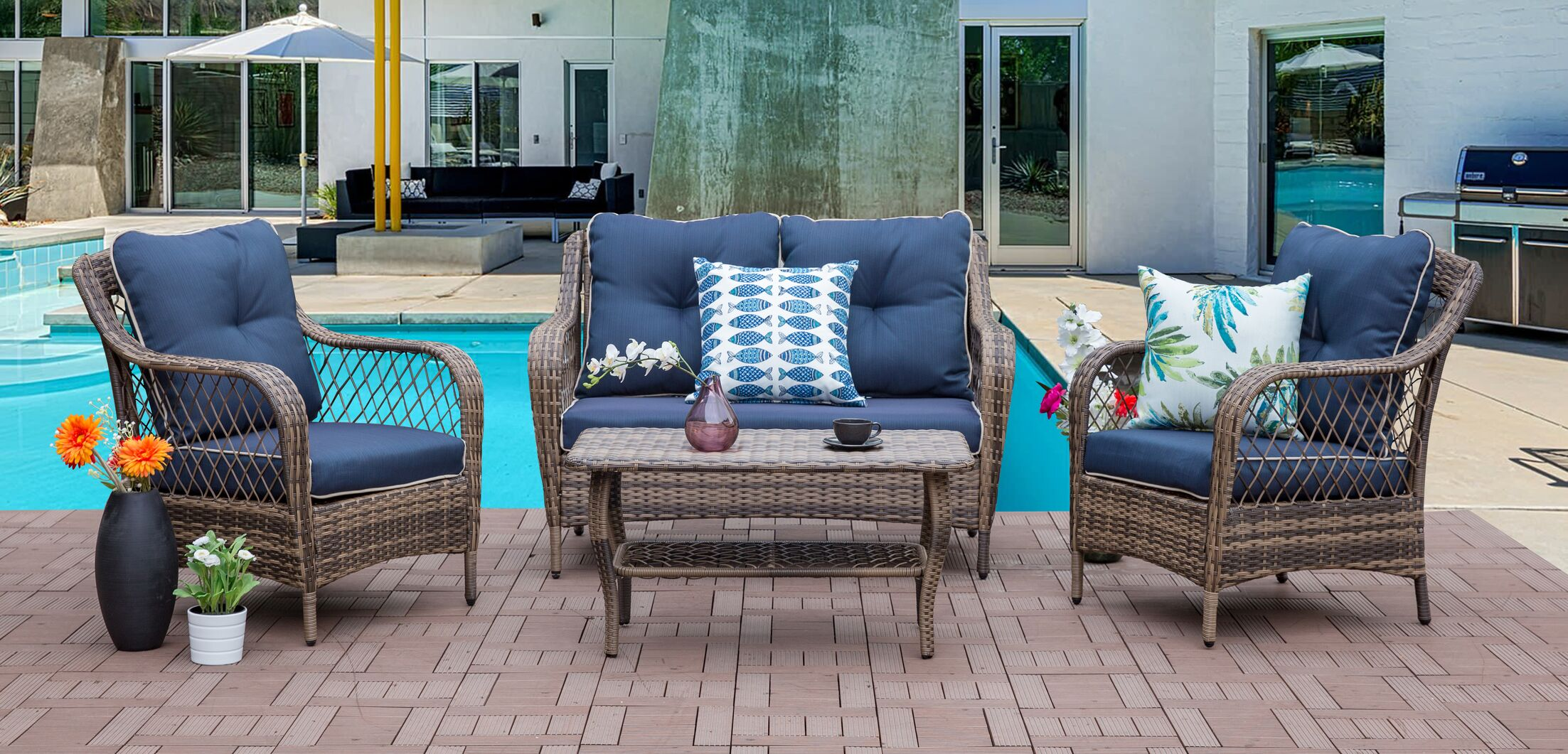 Carly 4 Piece Sofa Set with Cushions Frame Finish: Blue