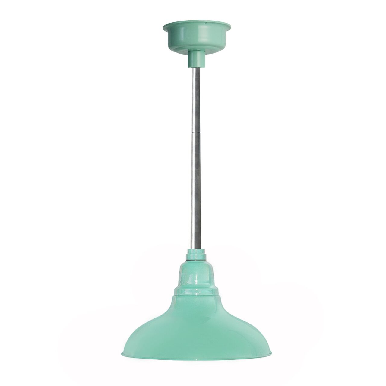 Idella 1-Light  LED Dome Pendant Finish: Jade with Galvanized Silver Downrod, Size: 9