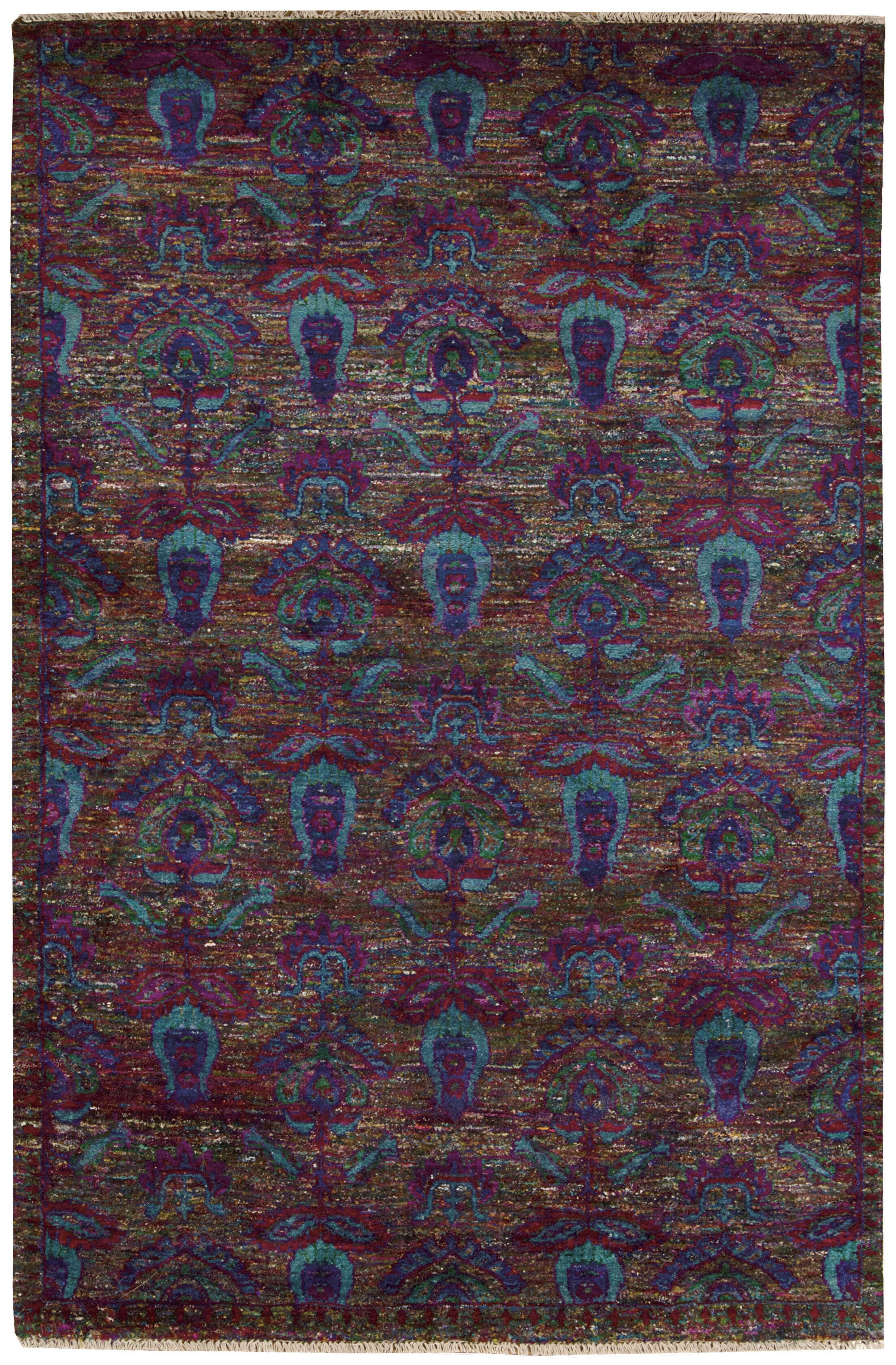 Pinos Hand knotted Purple Area Rug Rug Size: Rectangle 5'6