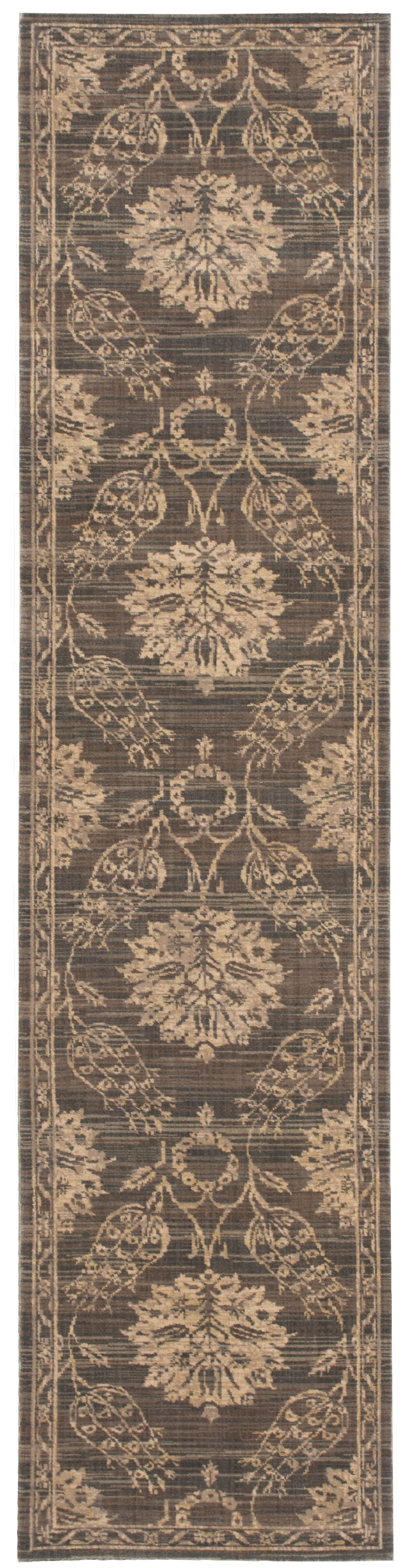 Eidelweiss Graphite Ornamental Leaf and Floral Area Rug Rug Size: Runner 2'5
