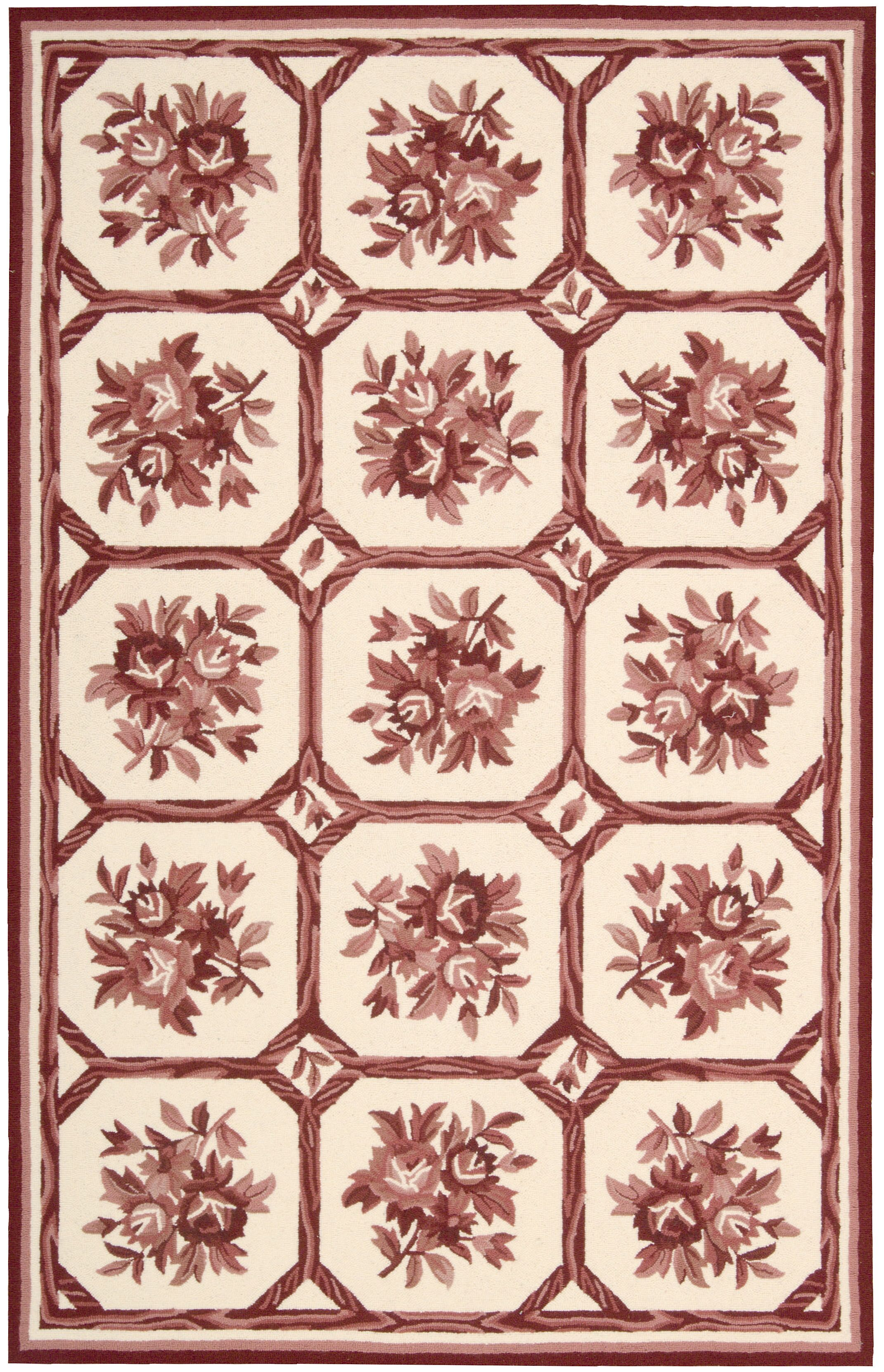 Kendall Hand-Hooked Ivory/Red Area Rug Rug Size: Rectangle 5'3