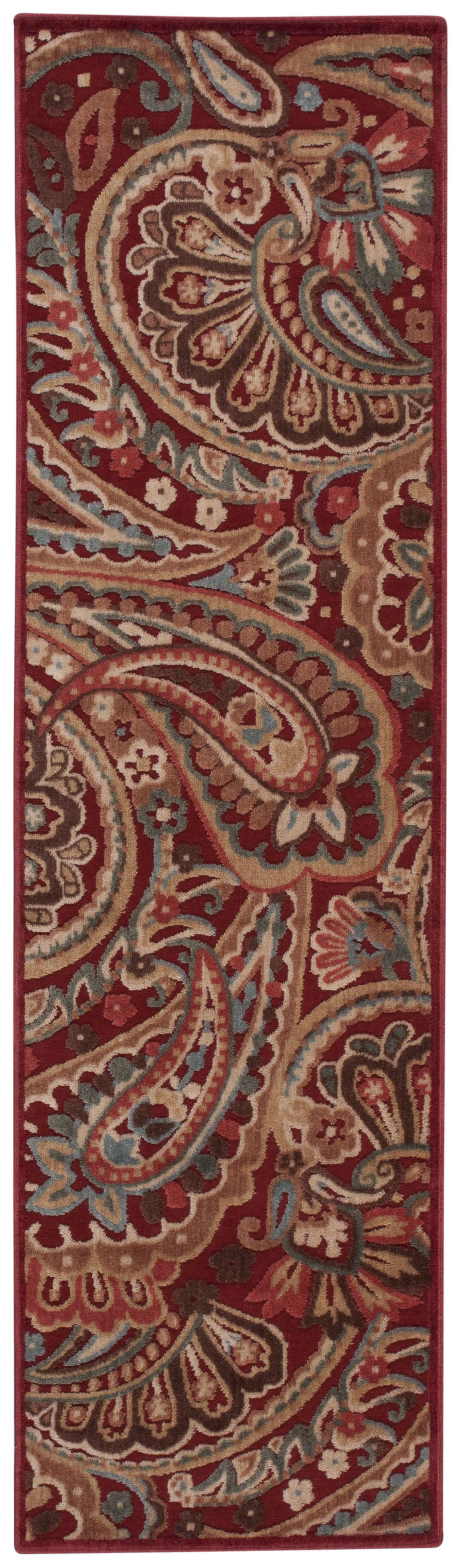 Francisca Red Paisley Area Rug Rug Size: Runner 2'3