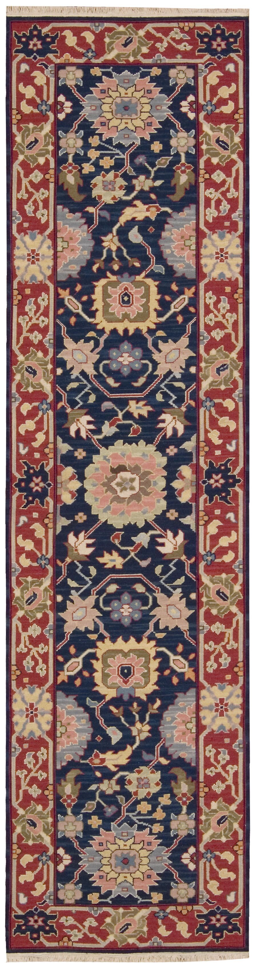 Pierson Hand-Woven Navy/Red Area Rug Rug Size: Rectangle 3'10