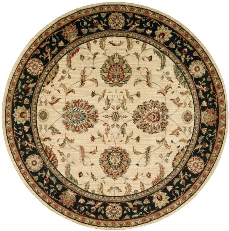 Crownover Wool Ivory/Black Indoor Area Rug Rug Size: Rectangle 7'6