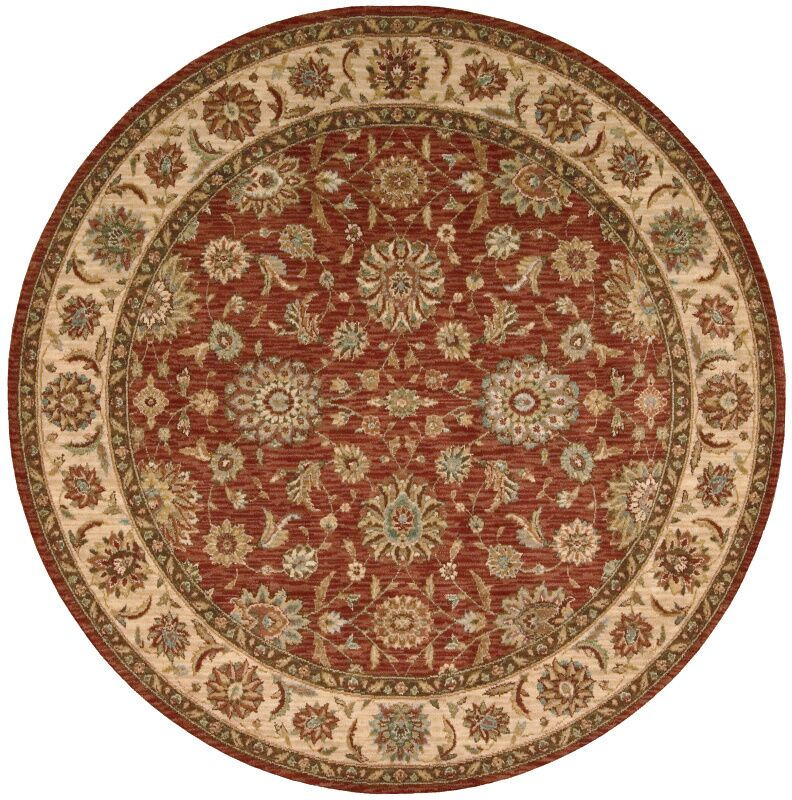Crownover Wool Rust Area Rug Rug Size: Round 7'10