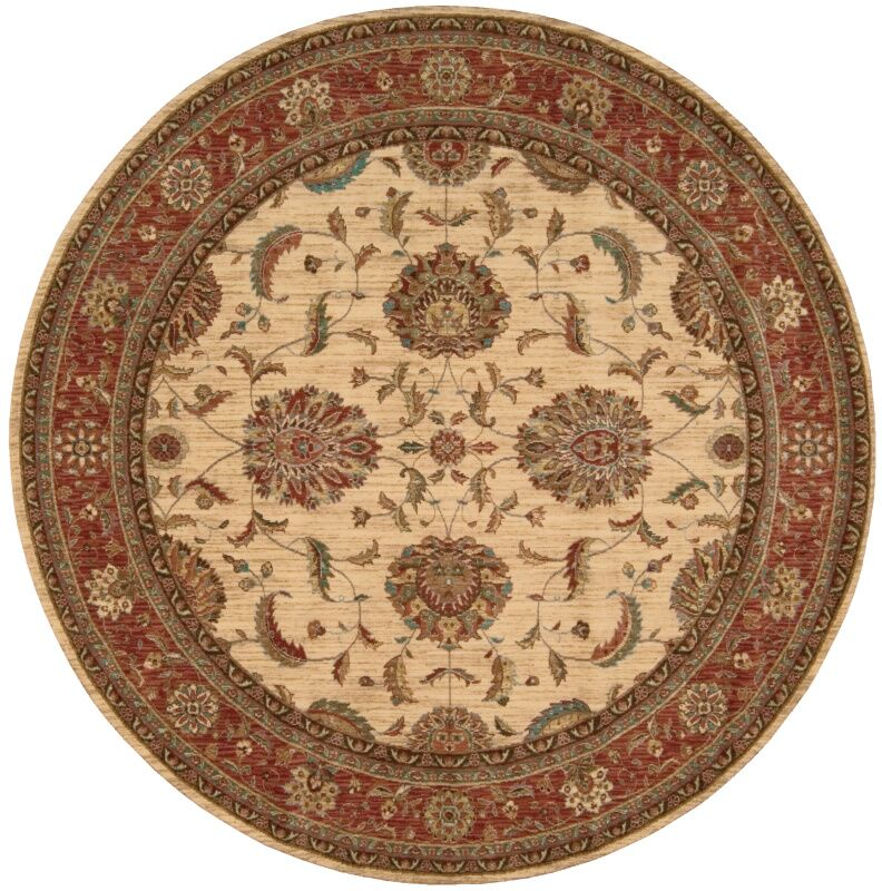 Crownover Ivory/Red Area Rug Rug Size: Round 5'10