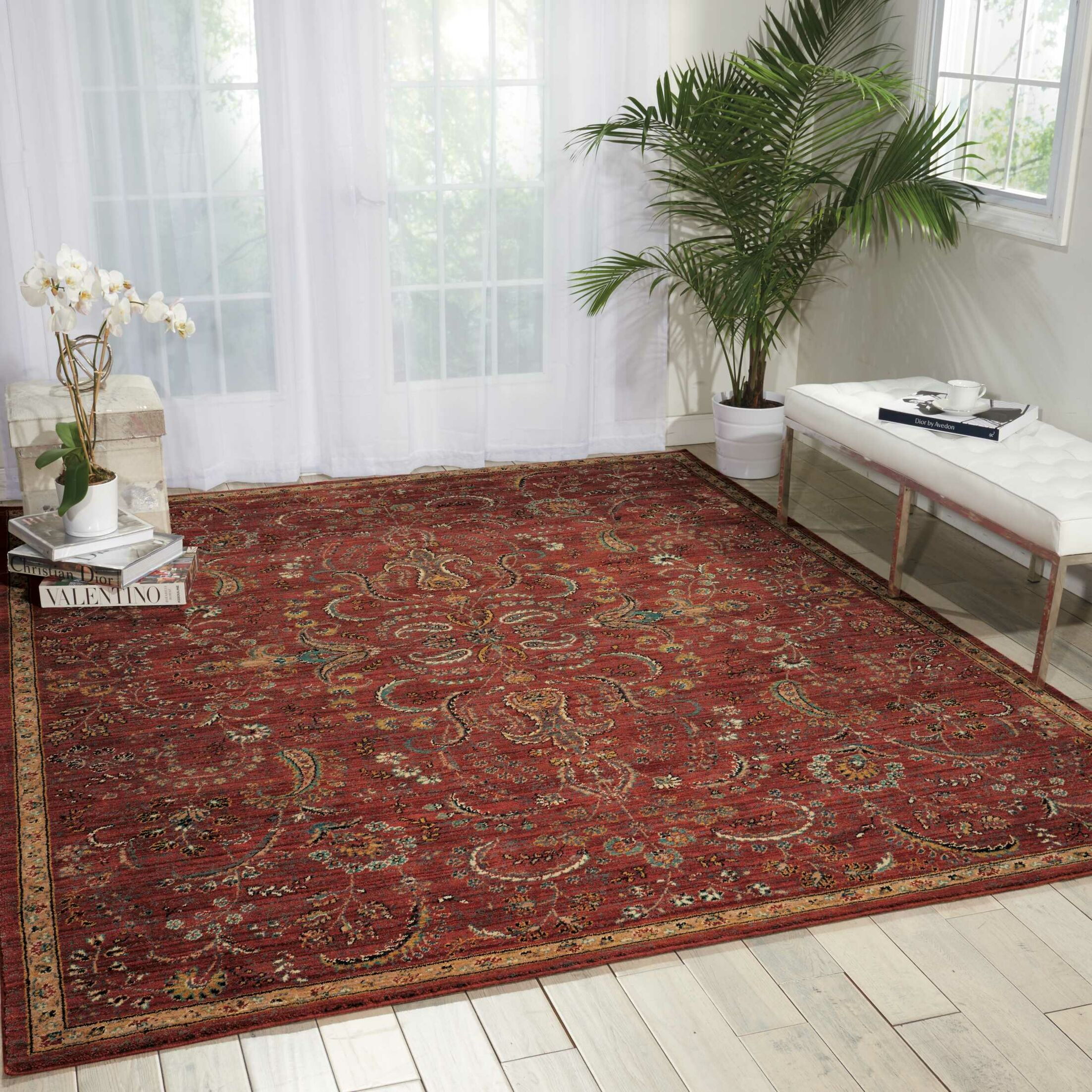 Mainville Red Area Rug Rug Size: Rectangle 6'6