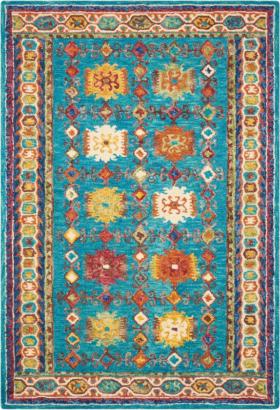Zosia Hand Tufted Wool Teal Area Rug Rug Size: Rectangle 8' x 10'6
